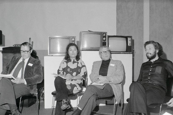 Fig. 7: Shigeko Kubota (center left) participating in the panel Global Trends in Experimental Television and giving a lecture at the conference Open Circuits: An International Conference on the Future of Television on January 23, 1974