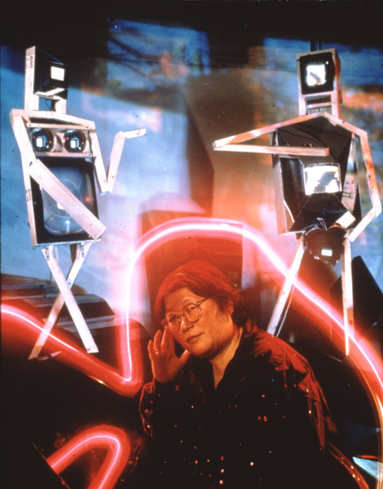 Fig. 11: Kubota with Adam and Eve (1991), installed at the Museum of the Moving Image, 1991