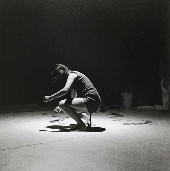 Fig. 6: Shigeko Kubota. Vagina Painting, performed during Perpetual Fluxfest, Cinematheque, New York, July 4, 1965. 1965