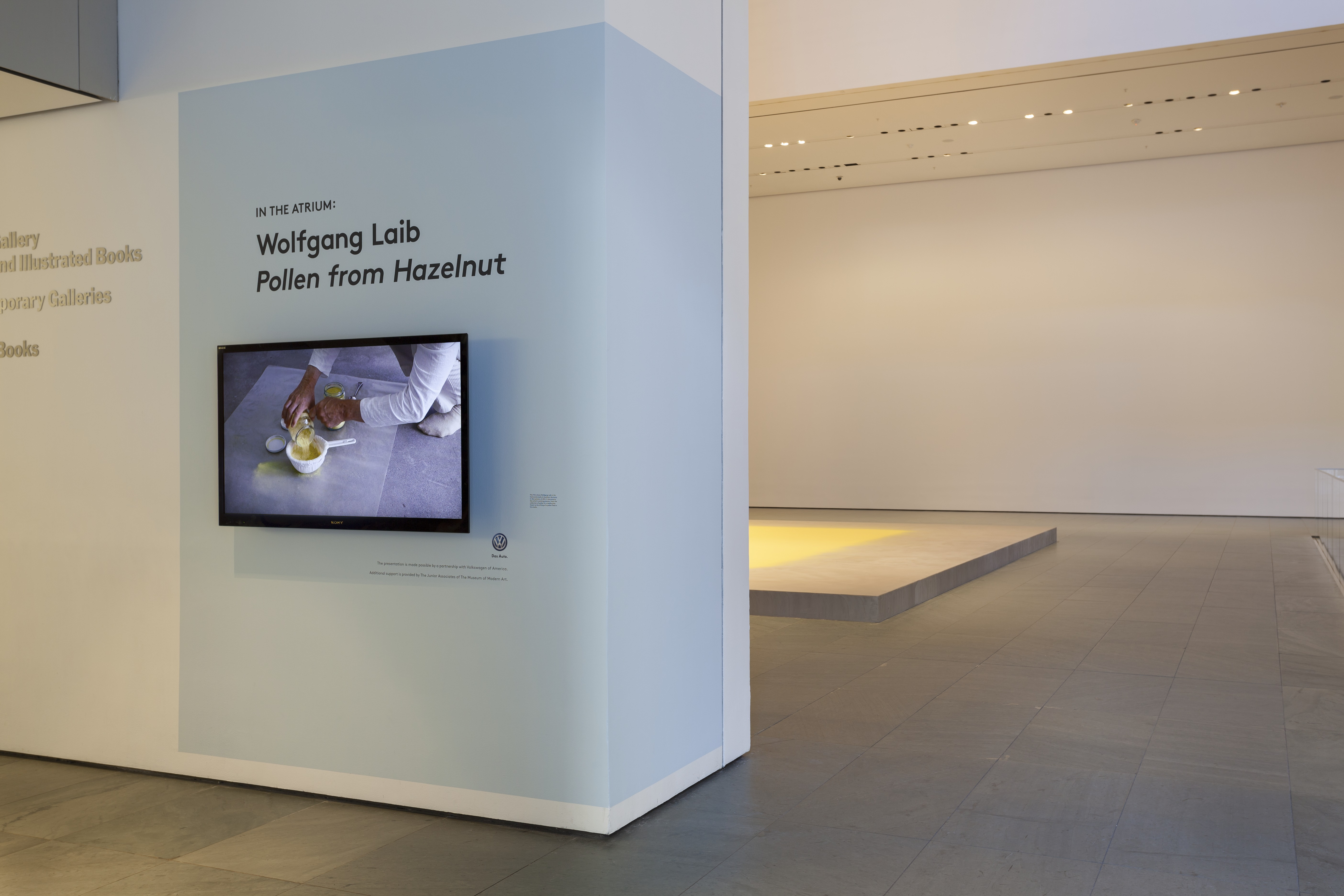 wolfgang laibs installation at the moma Museum of modern art yordanka 12 contemporary artists wolfgang laib's installation at the moma: pollen from hazelnut from january 23 to monday 11.