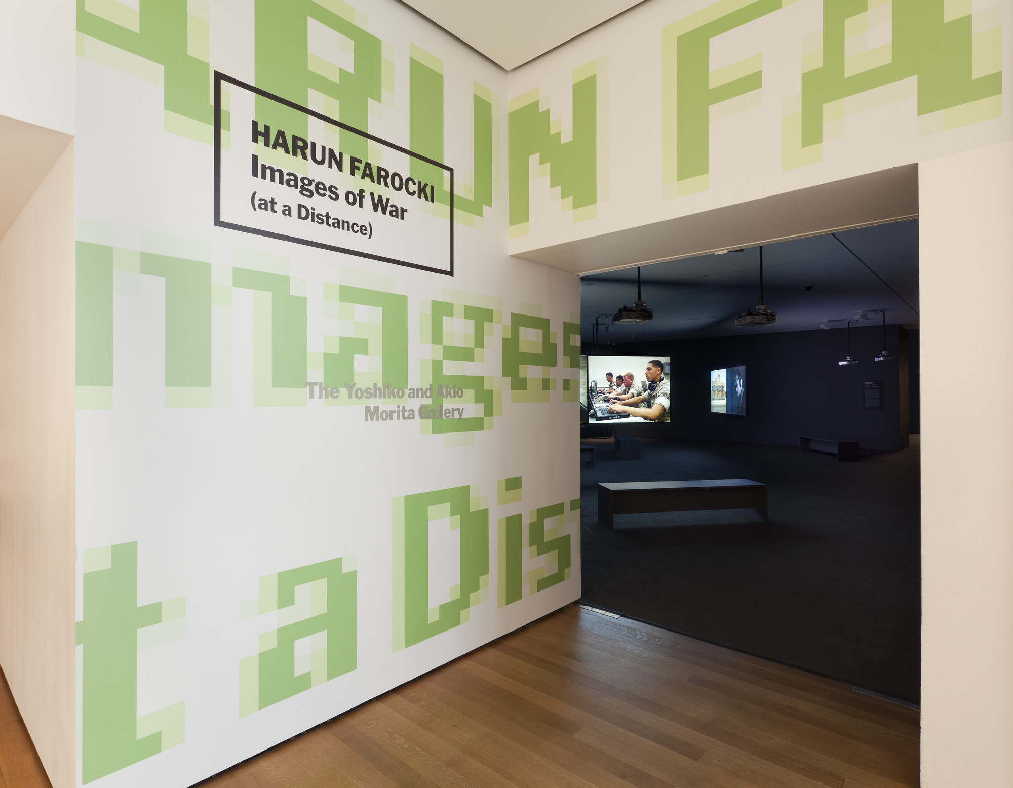 "Installation view of the exhibition, ""Harun Farocki:  Images of War (at a Distance)"" June 29, 2011–January 2, 2012. IN2162.1. Photograph by Jonathan Muzikar."