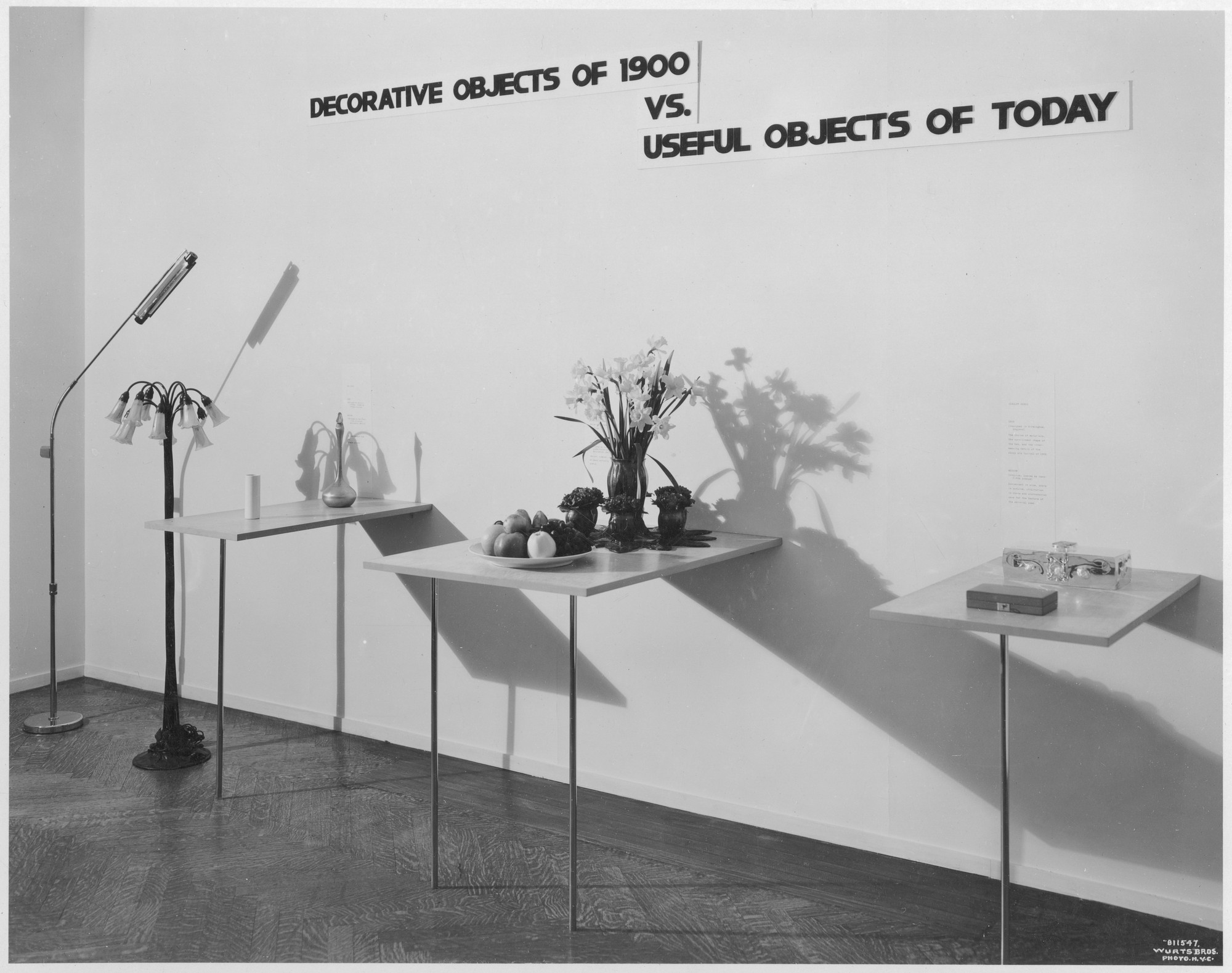 "Installation view of the exhibition, ""Objects: 1900 and Today."" April 10, 1933–April 25, 1933. Photographic Archive. The Museum of Modern Art Archives, New York. IN27.1"