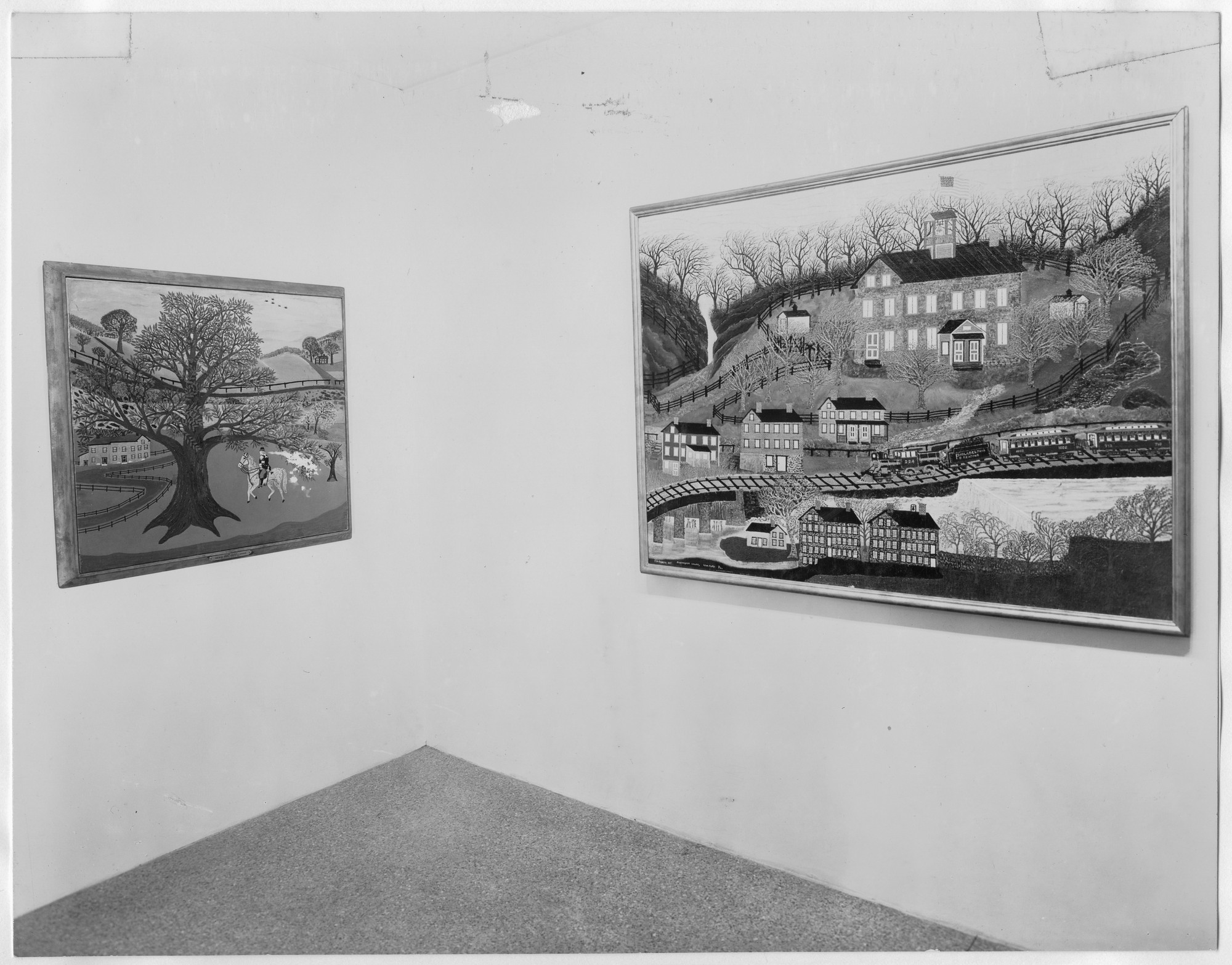 "Installation view of the exhibition, ""Masters of Popular Painting:  Modern Primitives of Europe and America April 27, 1938–July 24, 1938. Photographic Archive. The Museum of Modern Art Archives, New York. IN76.1. Photograph by Soichi Sunami."