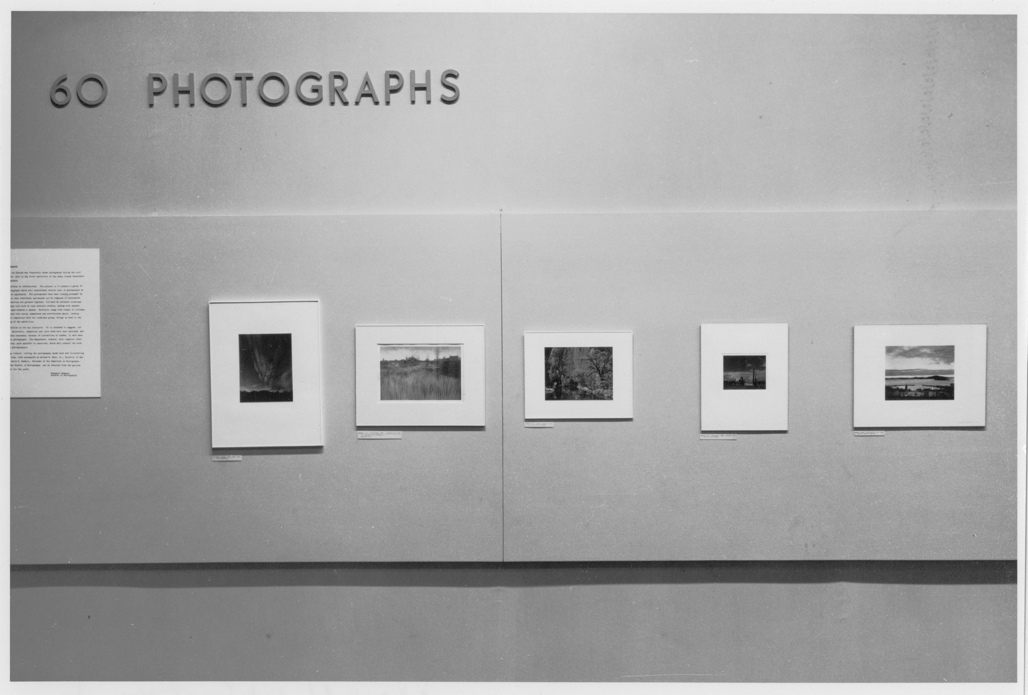 "Installation view of the exhibition, ""Sixty Photographs: A Survey of Camera Esthetics."" December 31, 1940–January 12, 1941. Photographic Archive. The Museum of Modern Art Archives, New York. IN121.2"