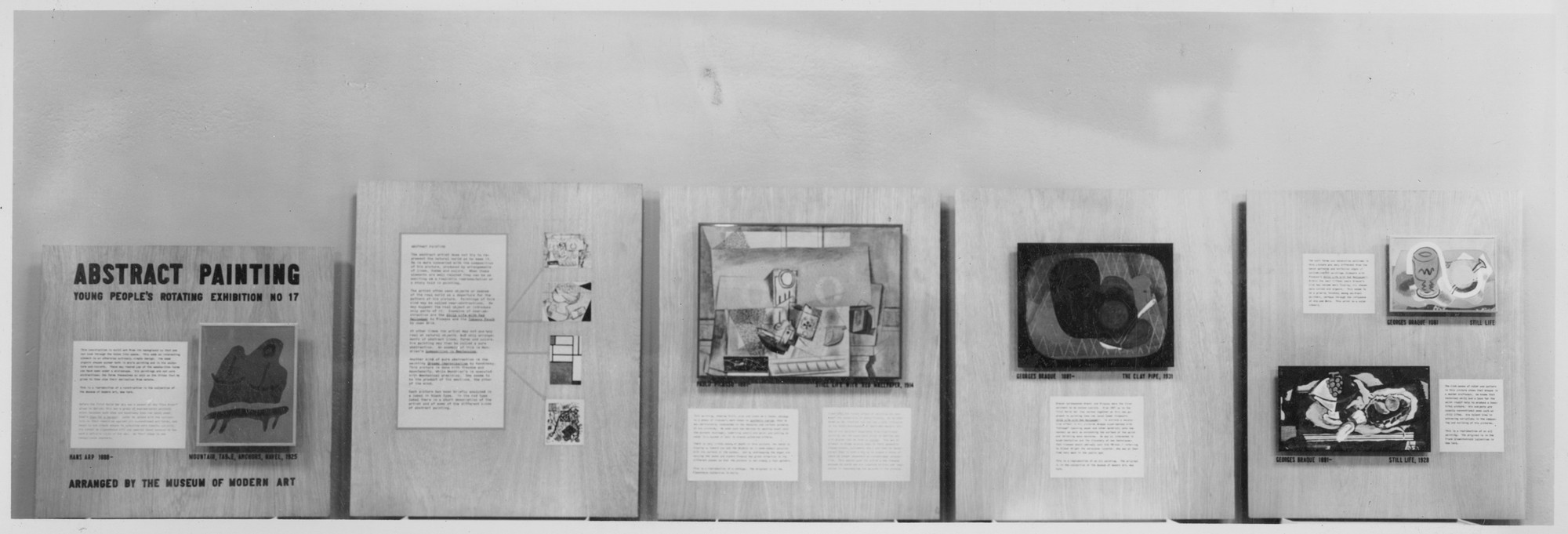 "Installation view of the exhibition, ""Abstract Painting: Shapes of Things."" July 15, 1941–July 28, 1941. Photographic Archive. The Museum of Modern Art Archives, New York. IN137.1. Photograph by Soichi Sunami."