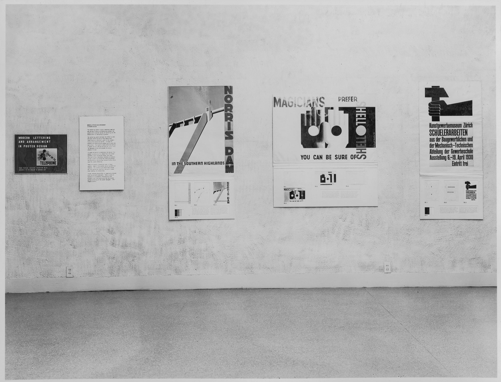 "Installation view of the exhibition, ""American Watercolors; Lettering and Arrangements in Poster Design."" August 12, 1941–August 25, 1941. Photographic Archive. The Museum of Modern Art Archives, New York. IN143.1. Photograph by Soichi Sunami."