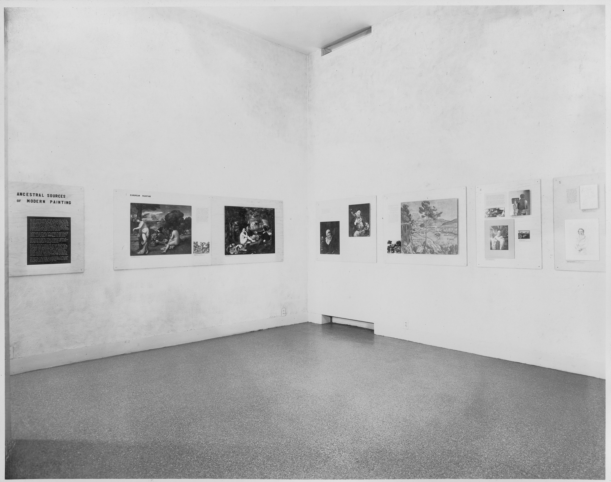 "Installation view of the exhibition, ""Ancestral Sources of Modern Painting."" August 26, 1941–September 15, 1941. Photographic Archive. The Museum of Modern Art Archives, New York. IN144.1. Photograph by Soichi Sunami."