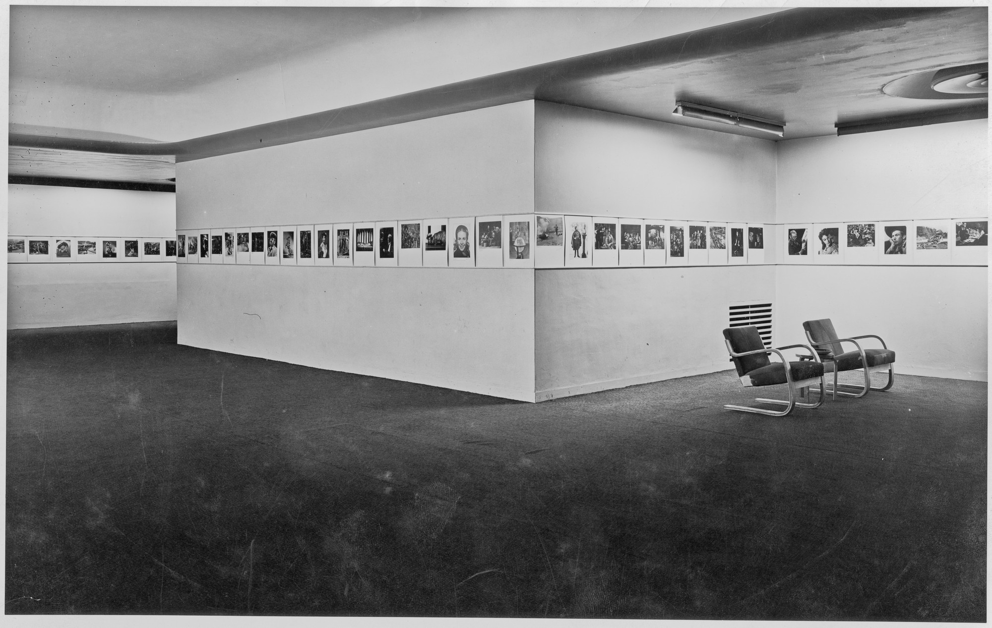 "Installation view of the exhibition, ""Still Photographs from Hollywood Studios"" May 6, 1941–June 2, 1941. Photographic Archive. The Museum of Modern Art Archives, New York. IN129.1"