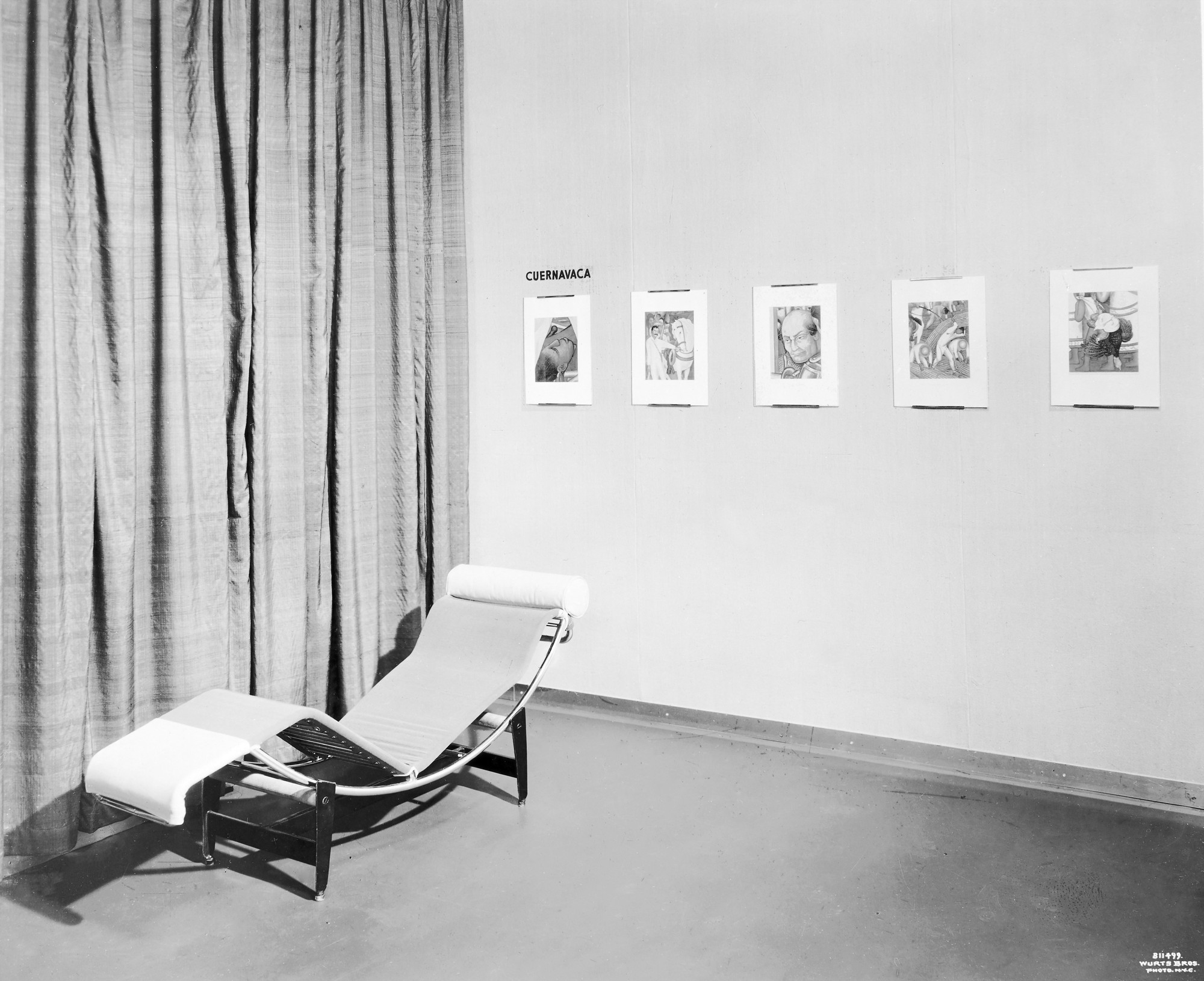 "Installation view of the exhibition, ""Color Reproductions of Mexican Frescos by Diego Rivera"" February 20, 1933–March 12, 1933. The Museum of Modern Art Exhibition Records, 27.3. The Museum of Modern Art Archives, New York. IN24a.1. Photograph by Wurts Brothers."