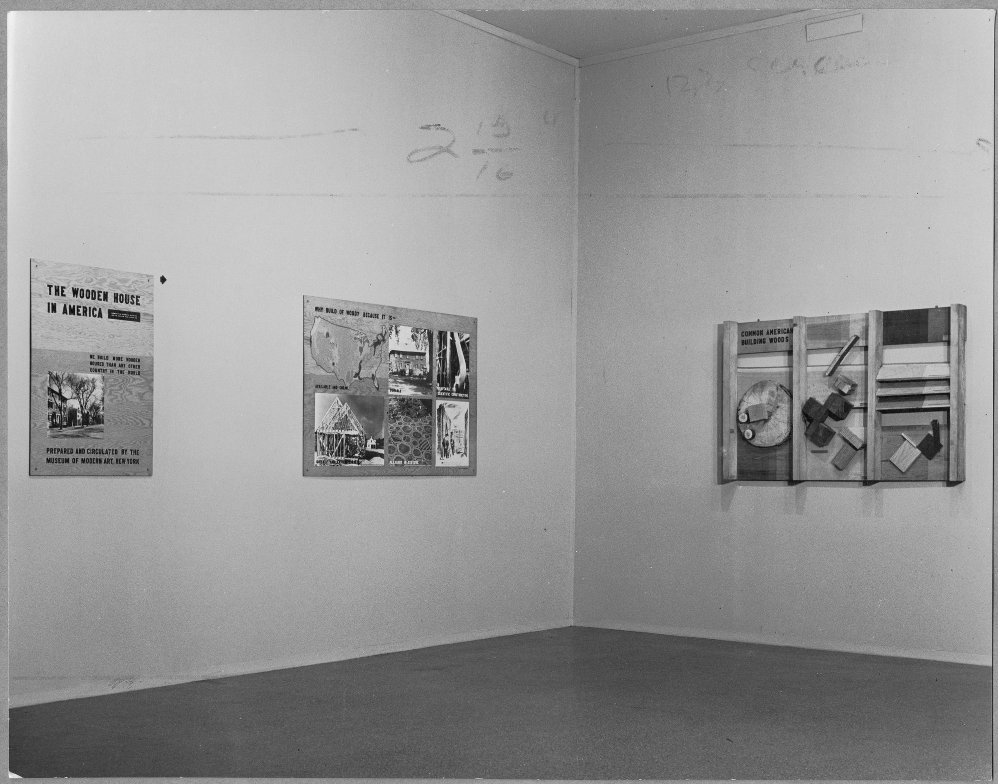 "Installation view of the exhibition, ""The Wooden House in America"" September 9, 1941–September 30, 1941. Photographic Archive. The Museum of Modern Art Archives, New York. IN146.1. Photograph by Molly Noyes."