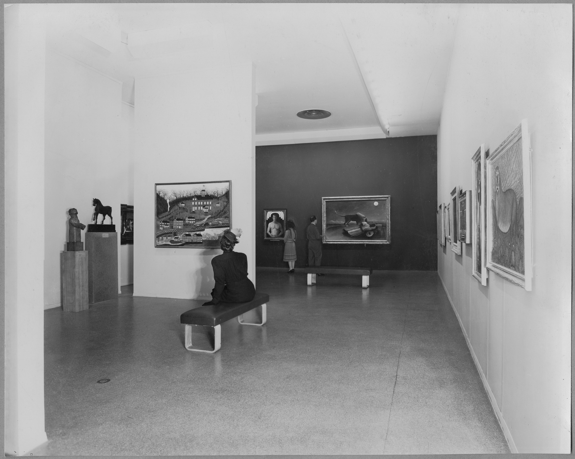 "Installation view of the exhibition, ""New Acquisitions:  Modern Primitives; Artists of the People."" October 21, 1941–April 30, 1944. Photographic Archive. The Museum of Modern Art Archives, New York. IN153.1. Photograph by Soichi Sunami."