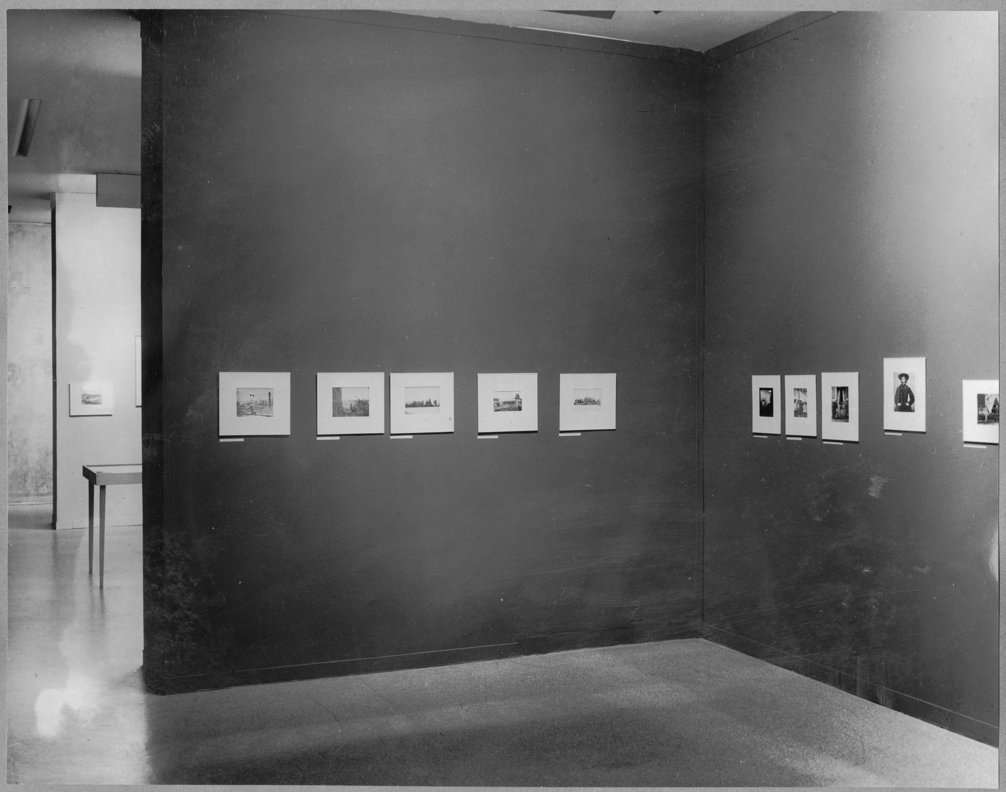 "Installation view of the exhibition, ""Photographs of the Civil War and the American Frontier."" March 3, 1942–April 5, 1942. Photographic Archive. The Museum of Modern Art Archives, New York. IN172.1"