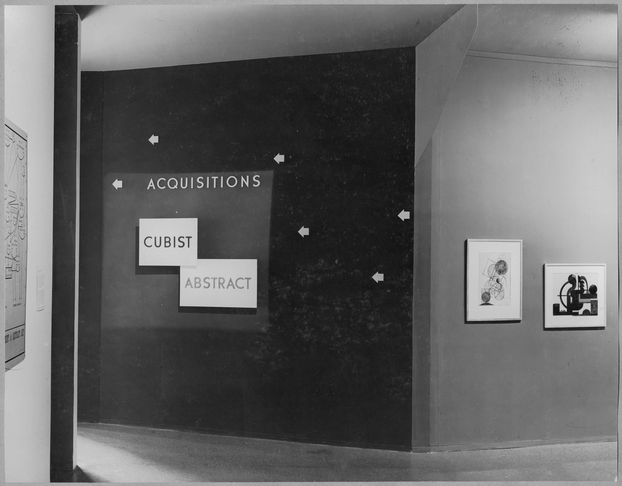"Installation view of the exhibition, ""New Acquisitions and Extended Loans:  Cubist and Abstract Art."" March 25, 1942–May 3, 1942. Photographic Archive. The Museum of Modern Art Archives, New York. IN176.1"
