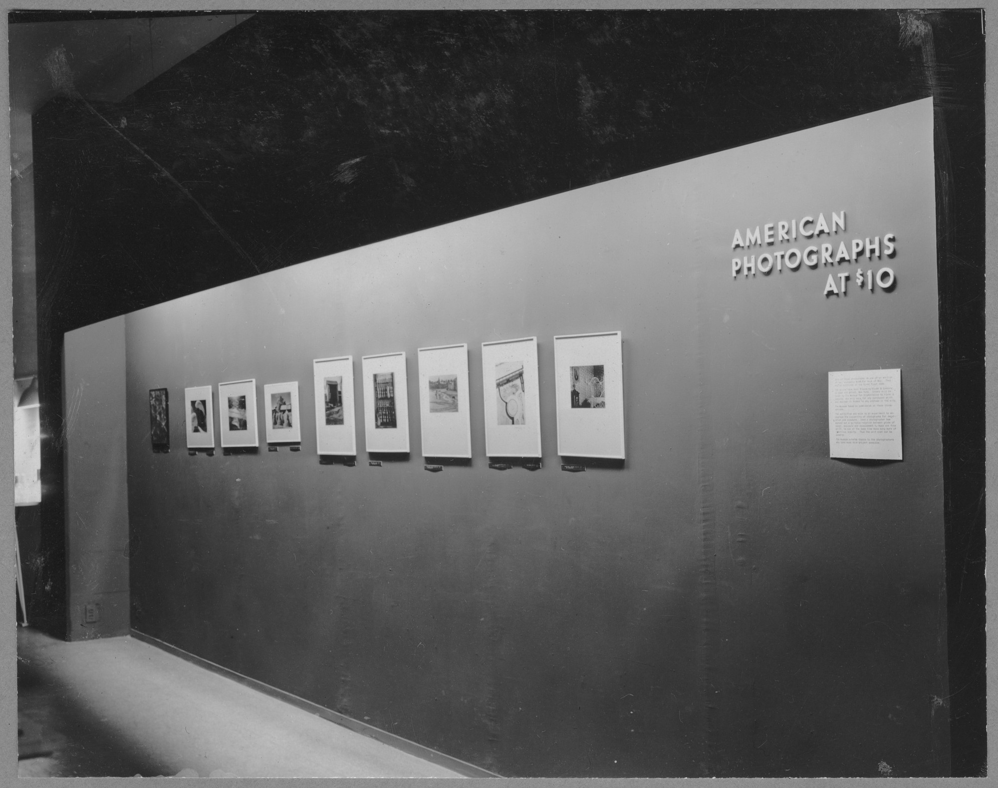 "Installation view of the exhibition, ""American Photographs at $10."" December 3, 1941–December 7, 1941. Photographic Archive. The Museum of Modern Art Archives, New York. IN162.1A"