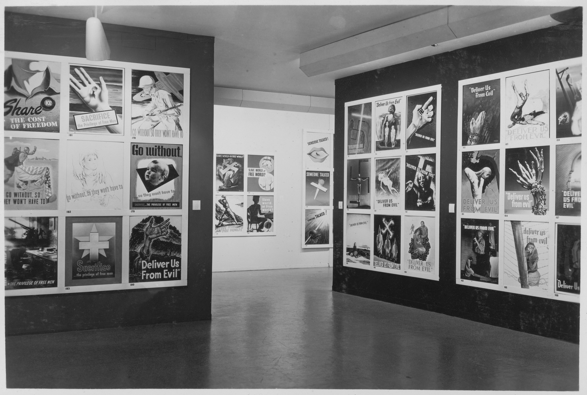 "Installation view of the exhibition, ""National War Poster Competition."" November 25, 1942–January 3, 1943. Photographic Archive. The Museum of Modern Art Archives, New York. IN207.2. Photograph by Soichi Sunami."