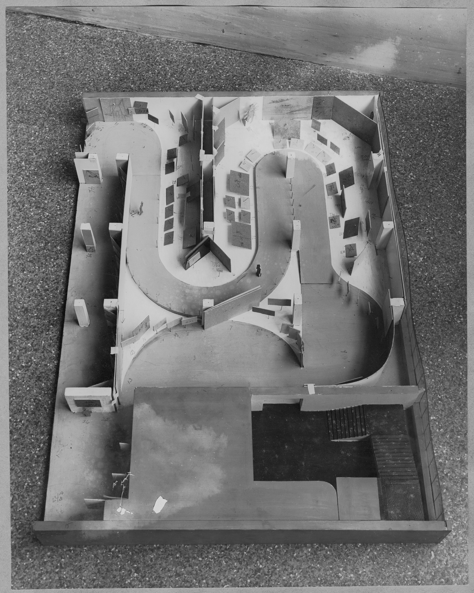 "Model of installation for the exhibition, ""Road to Victory."" May 21, 1942–October 4, 1942. Photographic Archive. The Museum of Modern Art Archives, New York. IN182.1"