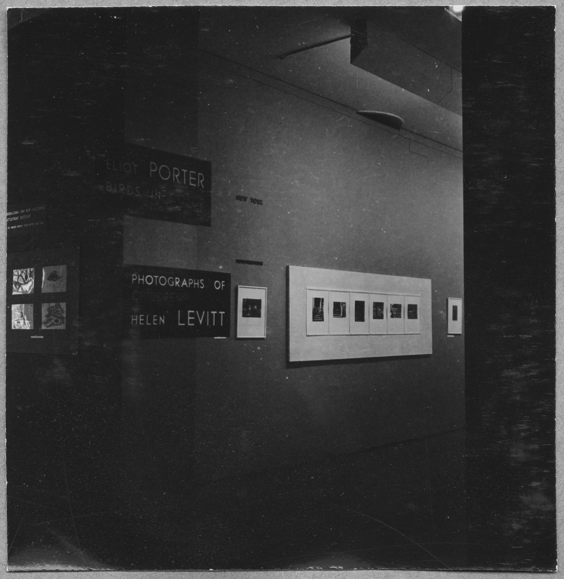 "Installation view of the exhibition, ""Helen Levitt:  Photographs of Children."" March 10, 1943–April 18, 1943. Photographic Archive. The Museum of Modern Art Archives, New York. IN221.1A"