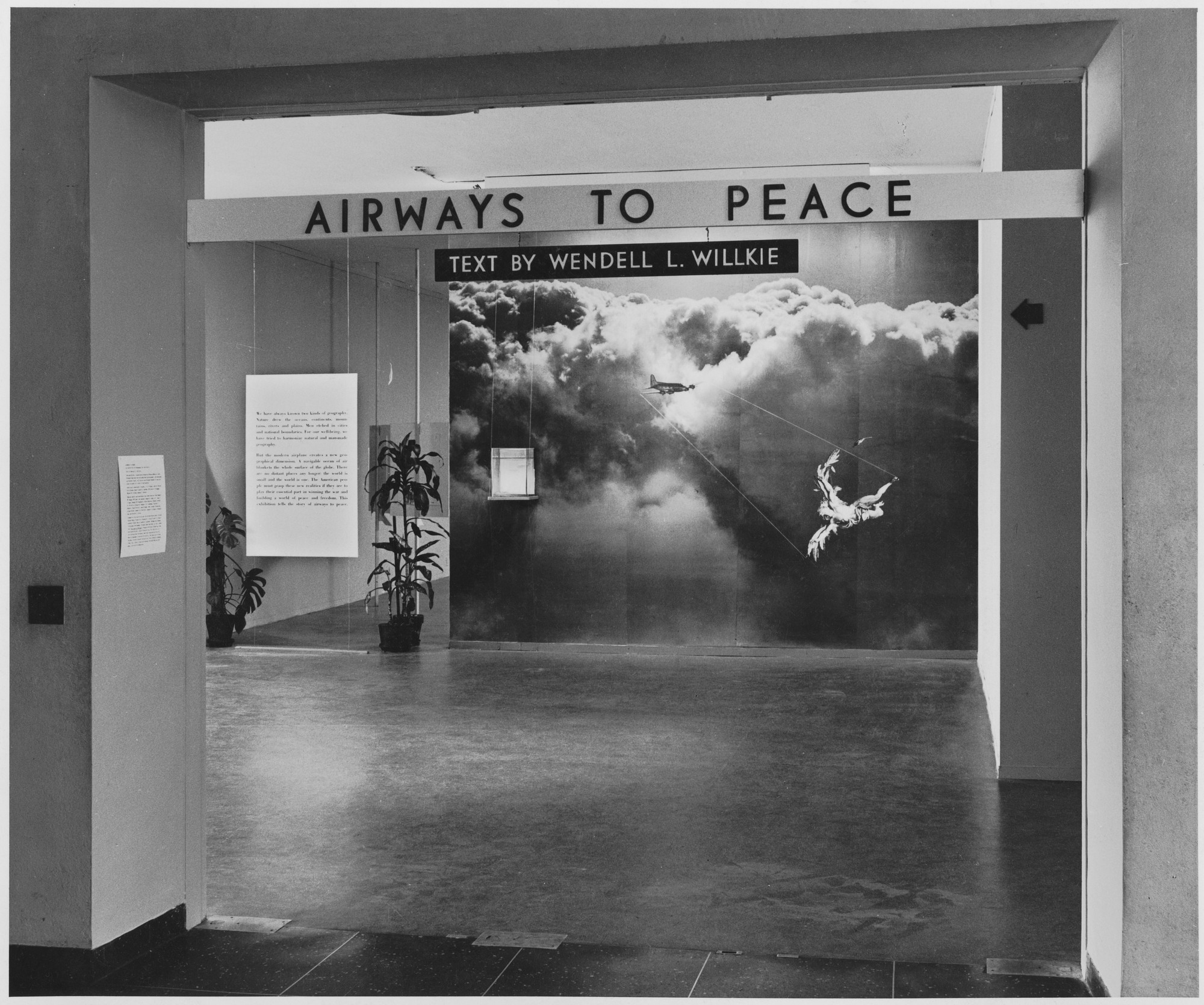 "Installation view of the exhibition, ""Airways to Peace."" July 2, 1943–October 31, 1943. Photographic Archive. The Museum of Modern Art Archives, New York. IN236.1. Photograph by Samuel Gottscho."