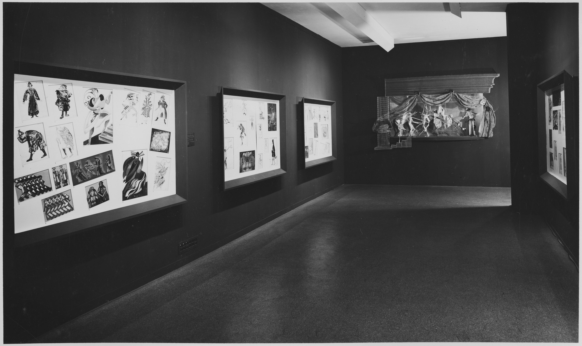 "Installation view of the exhibition, ""Dance and Theatre Design,"" in the series, ""Art in Progress:  15th Anniversary Exhibition."" May 24, 1944–September 17, 1944. Photographic Archive. The Museum of Modern Art Archives, New York. IN258d.1. Photograph by Soichi Sunami."