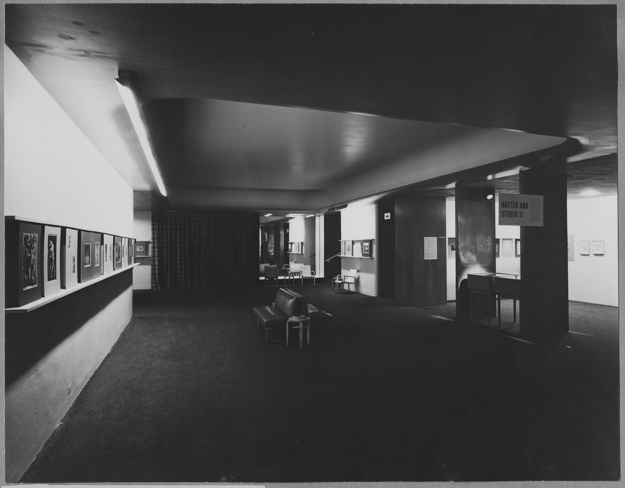 "Installation view of the exhibition,""Hayter and Studio 17:  New Directions in Gravure."" June 18, 1944–October 8, 1944. Photographic Archive. The Museum of Modern Art Archives, New York. IN259.1. Photograph by Soichi Sunami."
