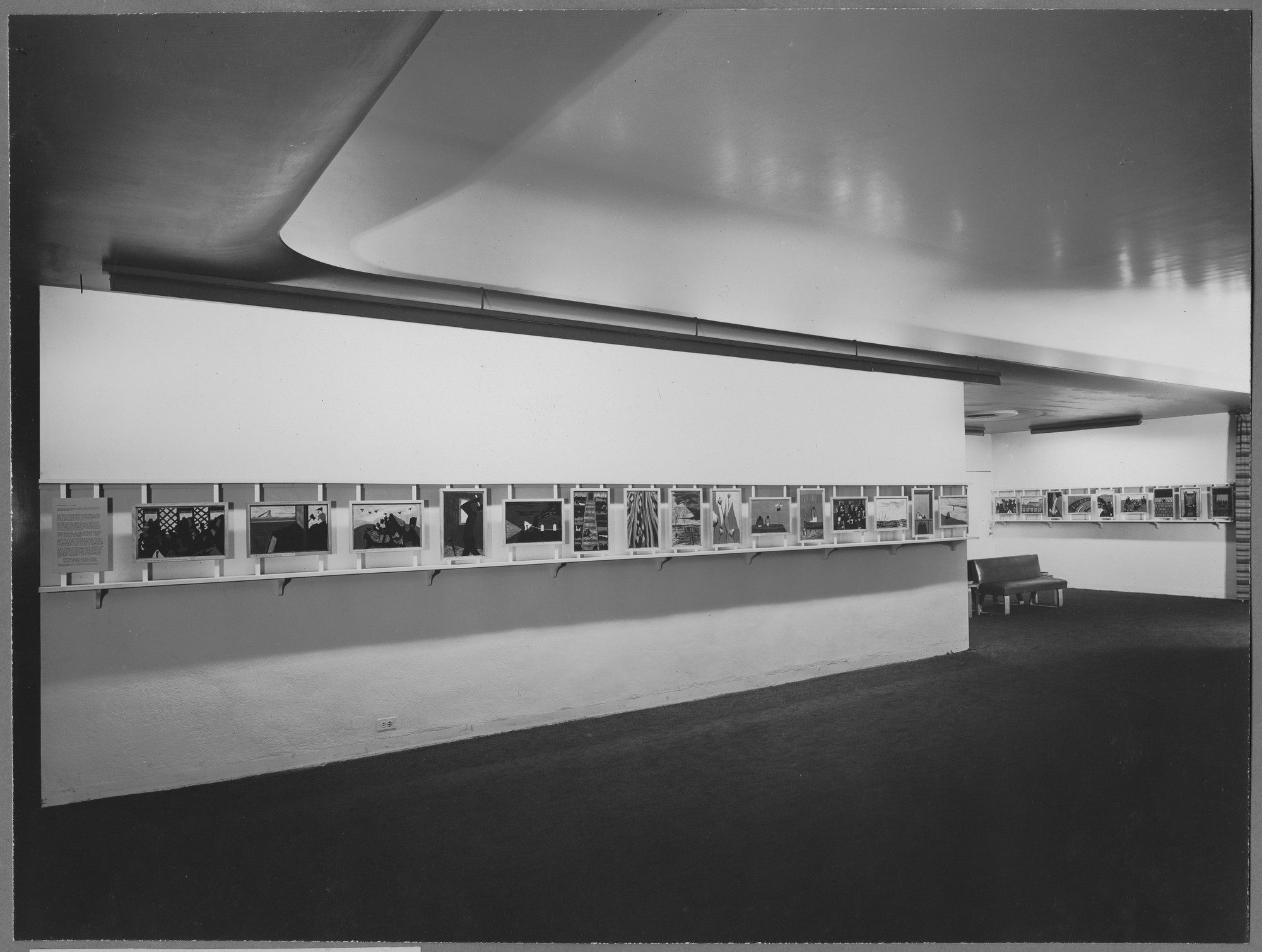 "Installation view of the exhibition,""Paintings by Jacob Lawrence."" October 10, 1944–November 5, 1944. Photographic Archive. The Museum of Modern Art Archives, New York. IN262.1. Photograph by Soichi Sunami."