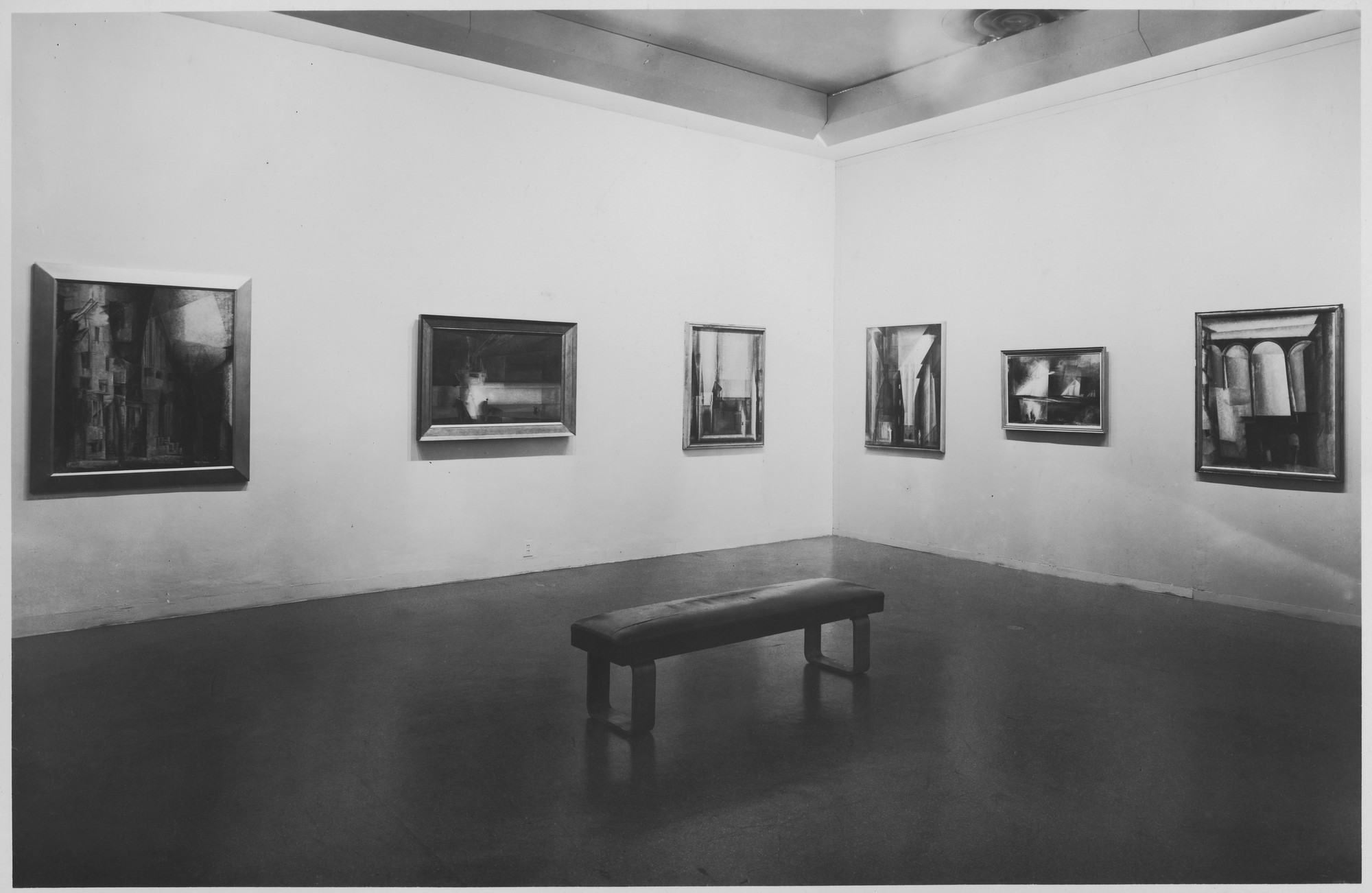 "Installation view of the exhibition, ""Lyonel Feininger."" October 24, 1944–January 14, 1945. Photographic Archive. The Museum of Modern Art Archives, New York. IN264.2. Photograph by Soichi Sunami."