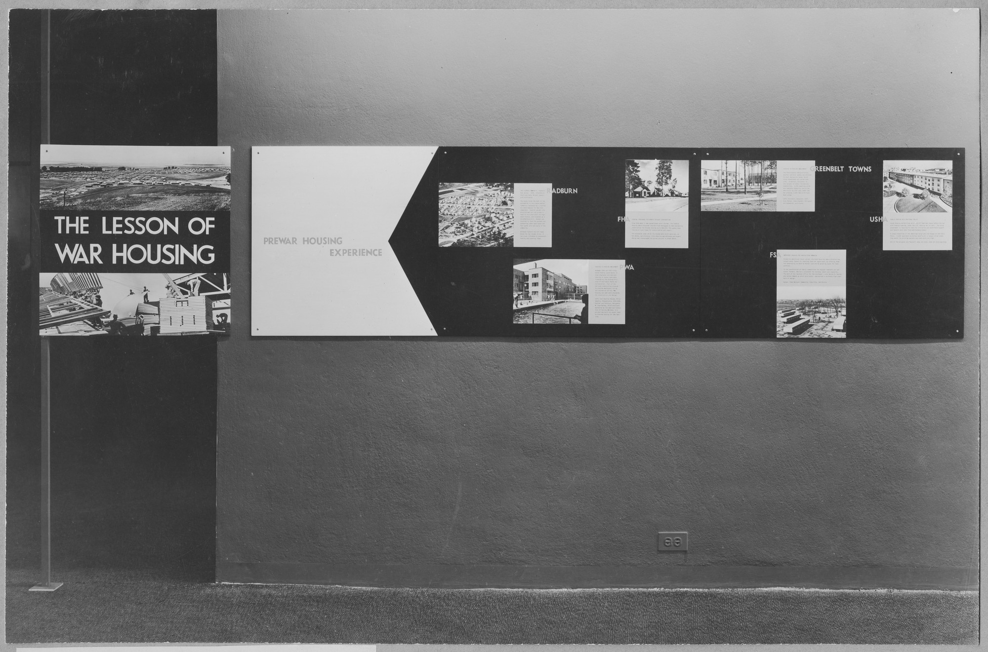 "Installation view of the exhibition, ""The Lesson of War Housing"" January 16, 1945–March 4, 1945. Photographic Archive. The Museum of Modern Art Archives, New York. IN274.1. Photograph by Soichi Sunami."
