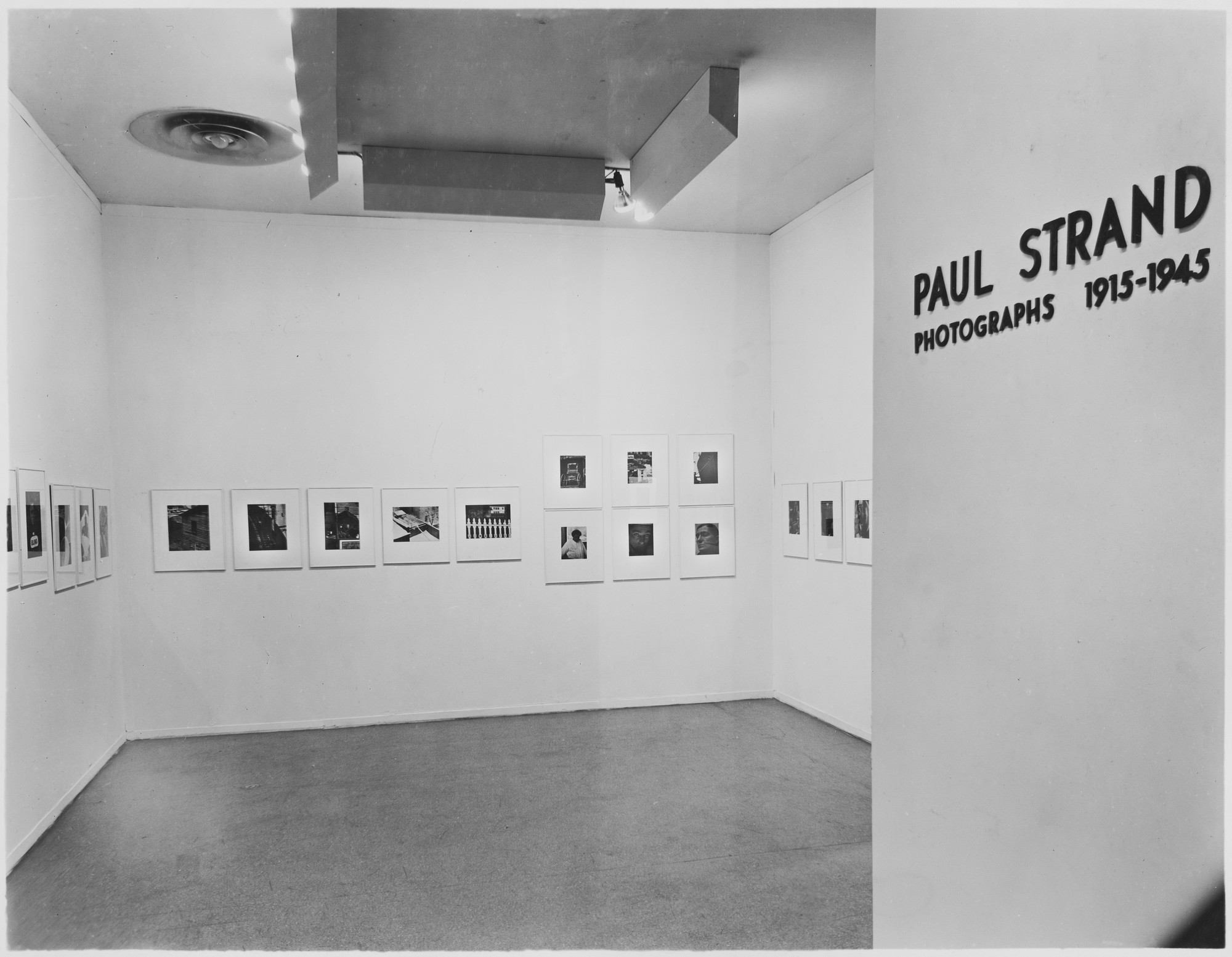 "Installation view of the exhibition, ""Paul Strand:  Photographs 1915-1945."" April 25, 1945–June 10, 1945. Photographic Archive. The Museum of Modern Art Archives, New York. IN286.1. Photograph by Brett Weston."