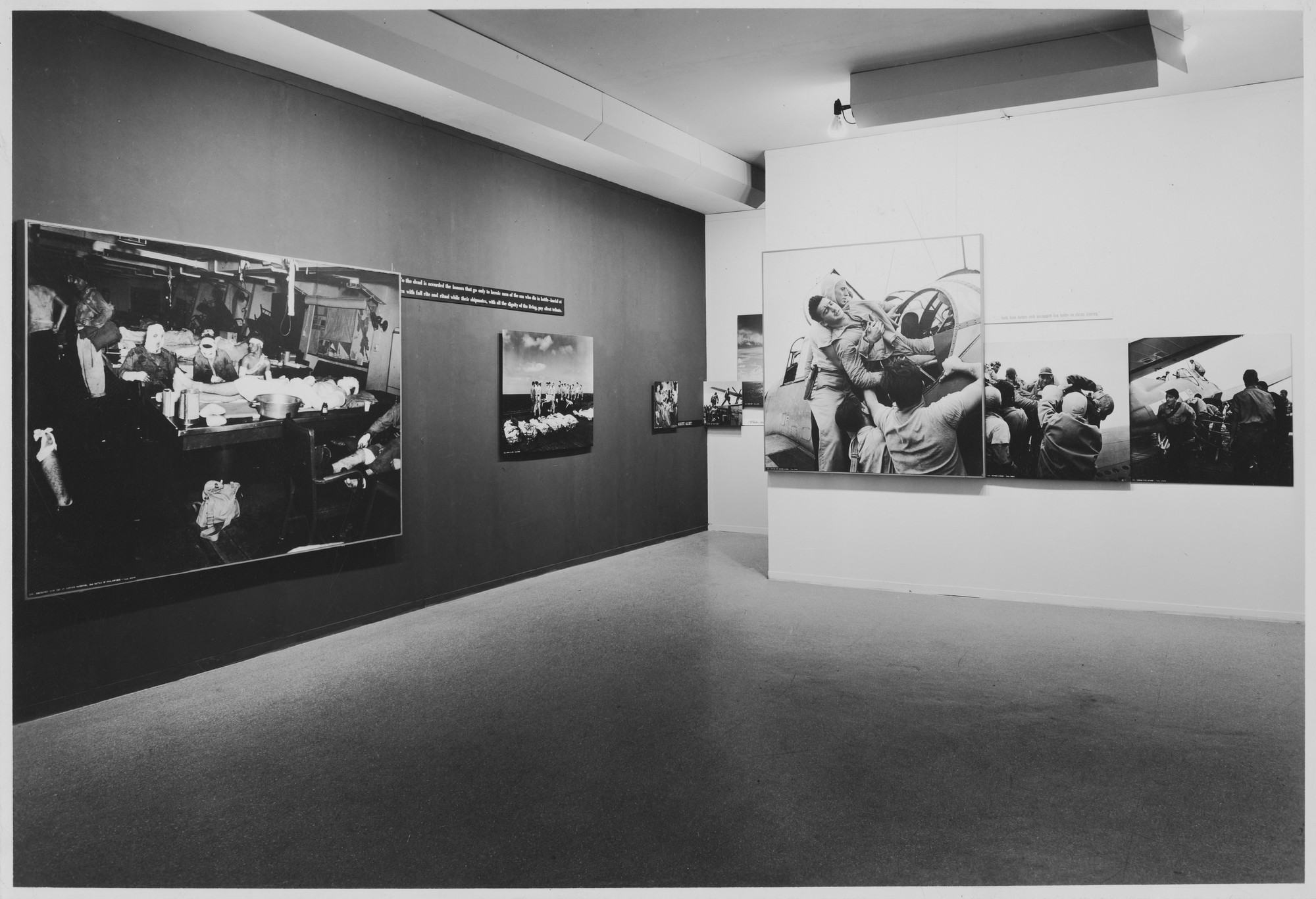 "Installation view of the exhibition, ""Power in the Pacific:  Battle Photographs of our Navy in Action on the Sea and in the Sky."" January 23, 1945–March 20, 1945. Photographic Archive. The Museum of Modern Art Archives, New York. IN275.1. Photograph by Soichi Sunami."