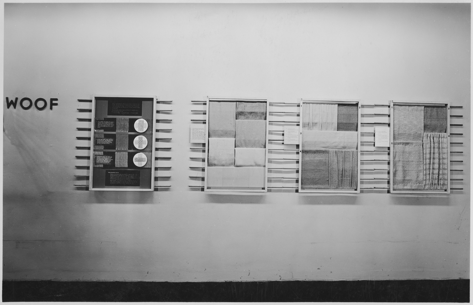 "Installation view of the exhibition, ""Textile Design."" August 29, 1945–September 23, 1945. Photographic Archive. The Museum of Modern Art Archives, New York. IN295.1. Photograph by Soichi Sunami."