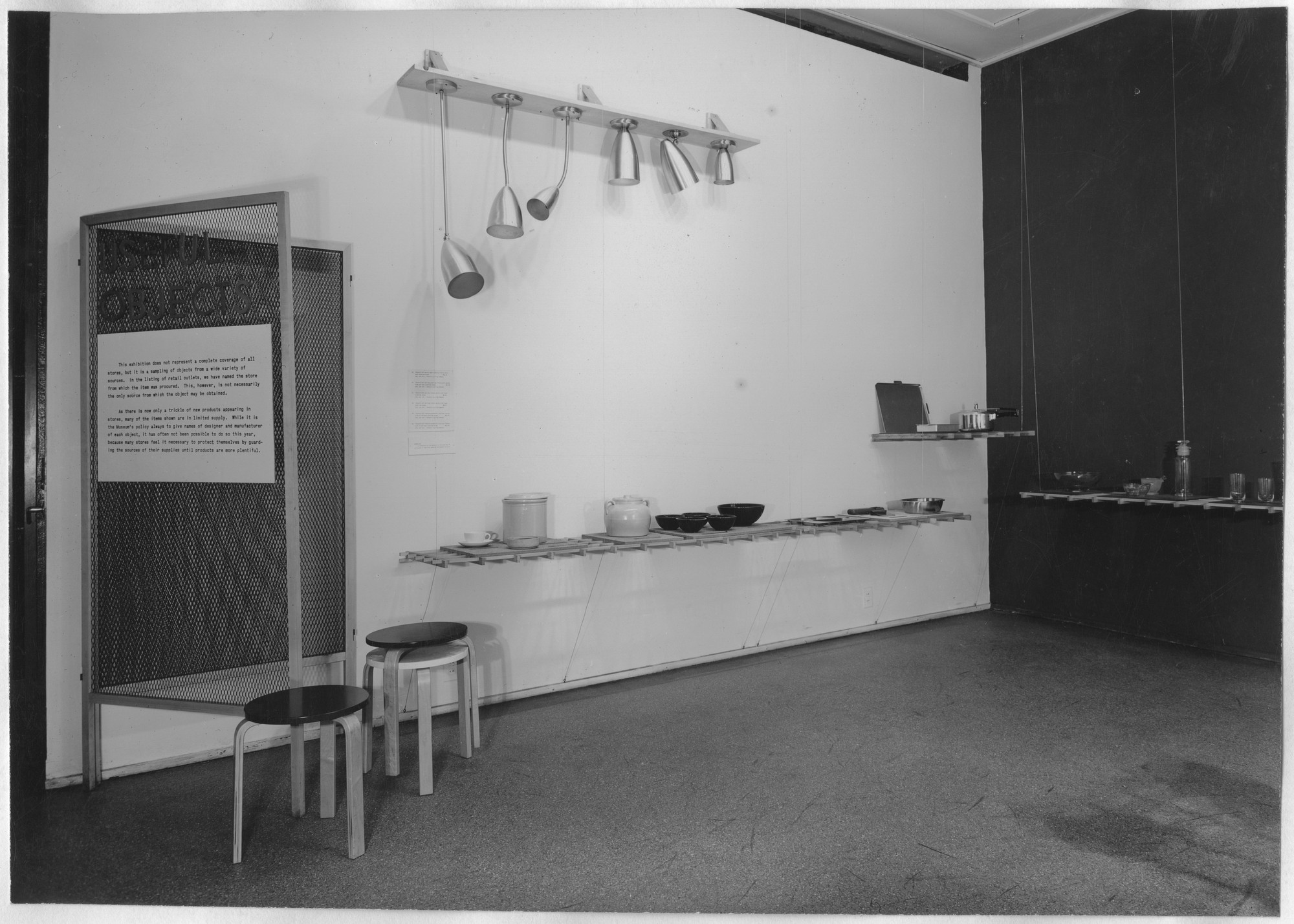 "Installation view of the exhibition, ""Useful Objects, 1945."" November 21, 1945–January 6, 1946. Photographic Archive. The Museum of Modern Art Archives, New York. IN300.1. Photograph by Soichi Sunami."