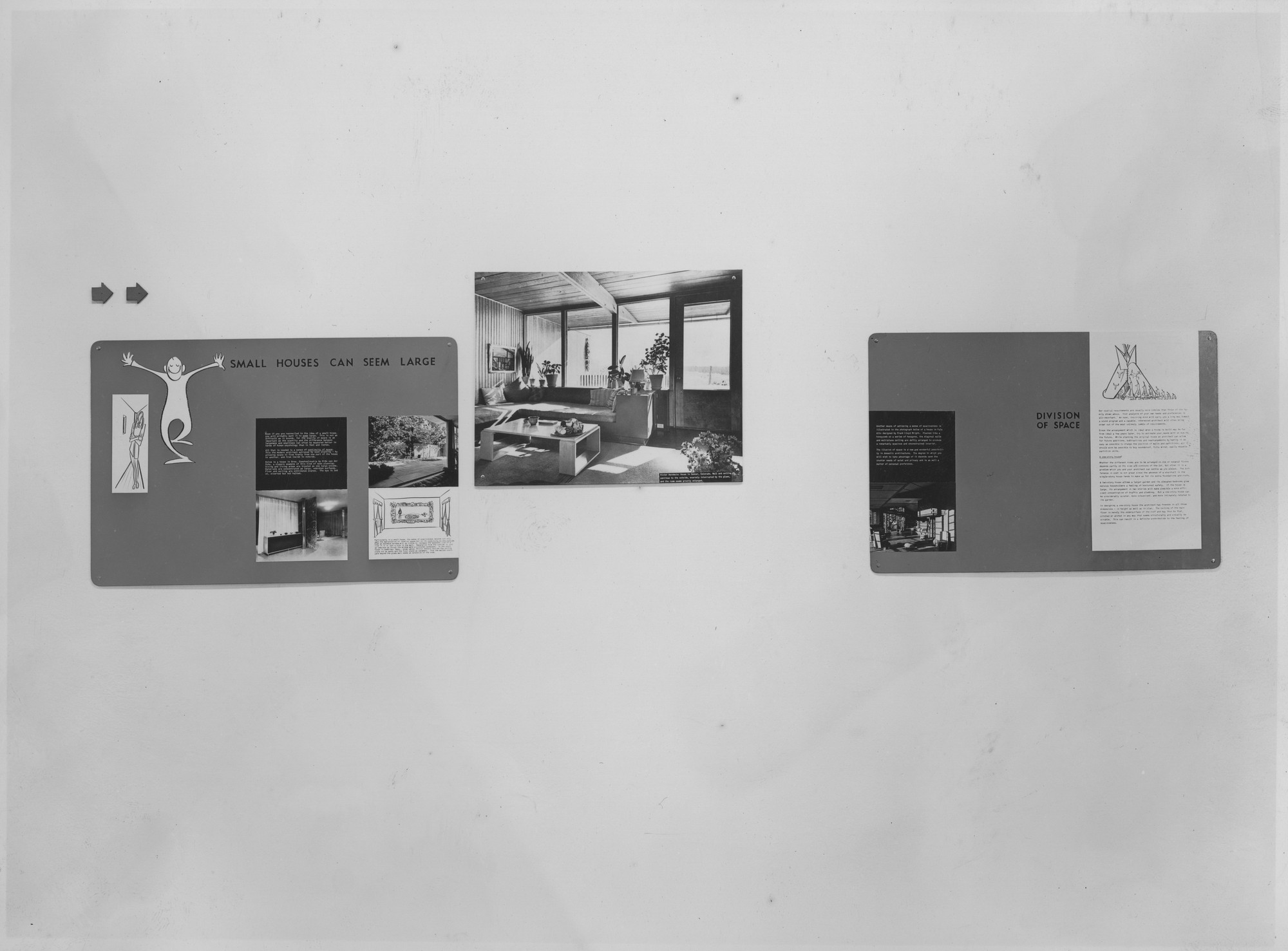 "Installation view of the exhibition, ""If You Want to Build a House."" January 8, 1946–January 30, 1946. Photographic Archive. The Museum of Modern Art Archives, New York. IN304.1. Photograph by Soichi Sunami."
