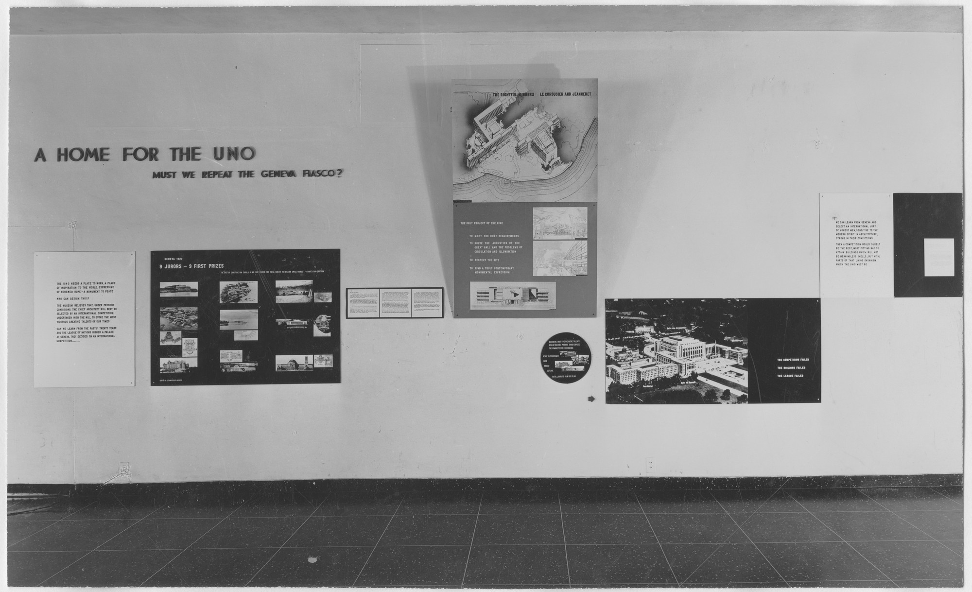 "Installation view of the exhibition, ""A Home for U.N.O.:  Must We Repeat the Geneva Fiasco?"" February 5, 1946–March 3, 1946. Photographic Archive. The Museum of Modern Art Archives, New York. IN309.1. Photograph by Soichi Sunami."