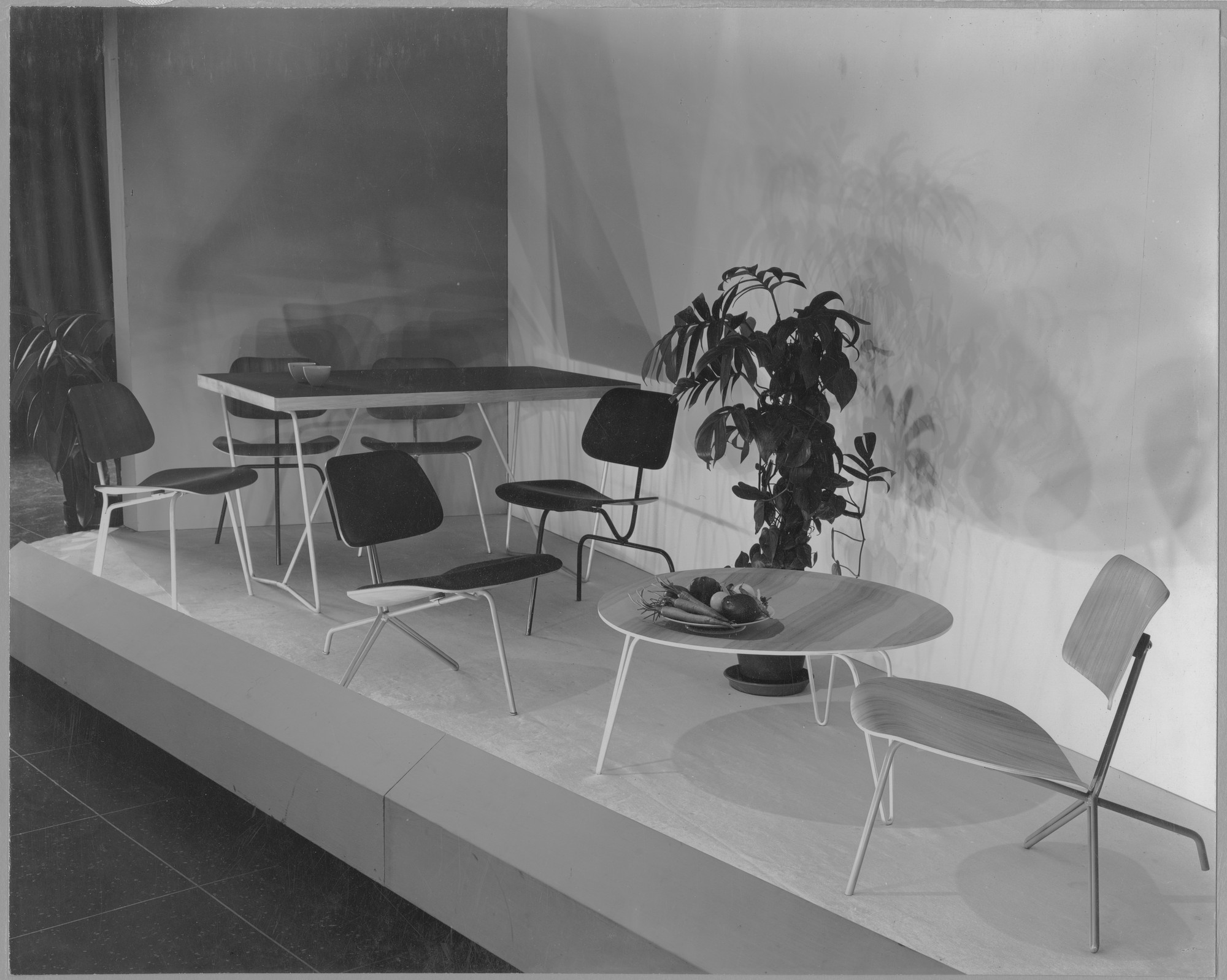 "Installation view of the exhibition, ""New Furniture Designed by Charles Eames."" March 12, 1946–March 31, 1946 (1st section); March 12, 1946–April 14, 1946 (2nd section). Photographic Archive. The Museum of Modern Art Archives, New York. IN314.1. Photograph by Soichi Sunami."