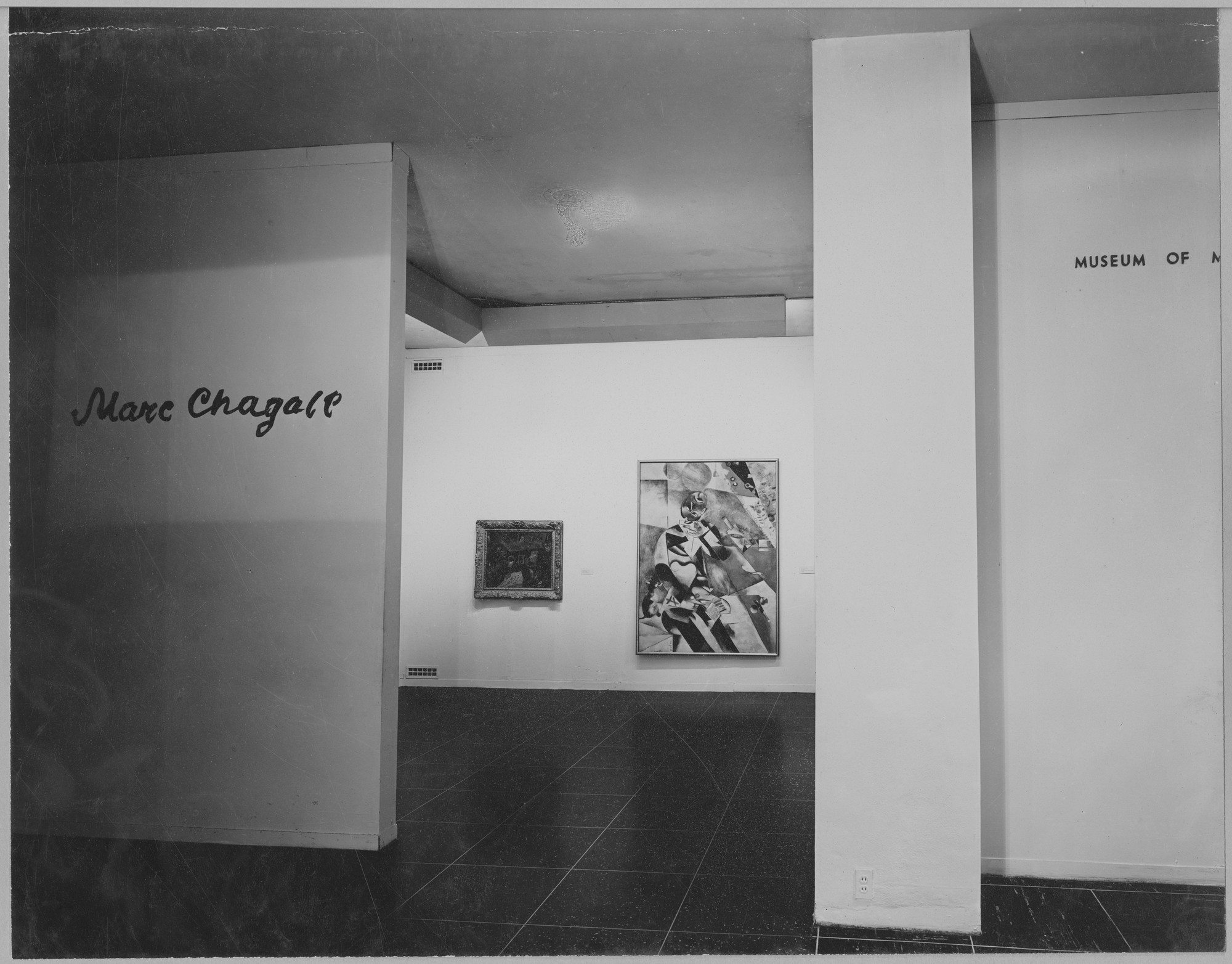 "Installation view of the exhibition, ""Marc Chagall"" April 9, 1946–June 23, 1946. Photographic Archive. The Museum of Modern Art Archives, New York. IN316.1. Photograph by Soichi Sunami."