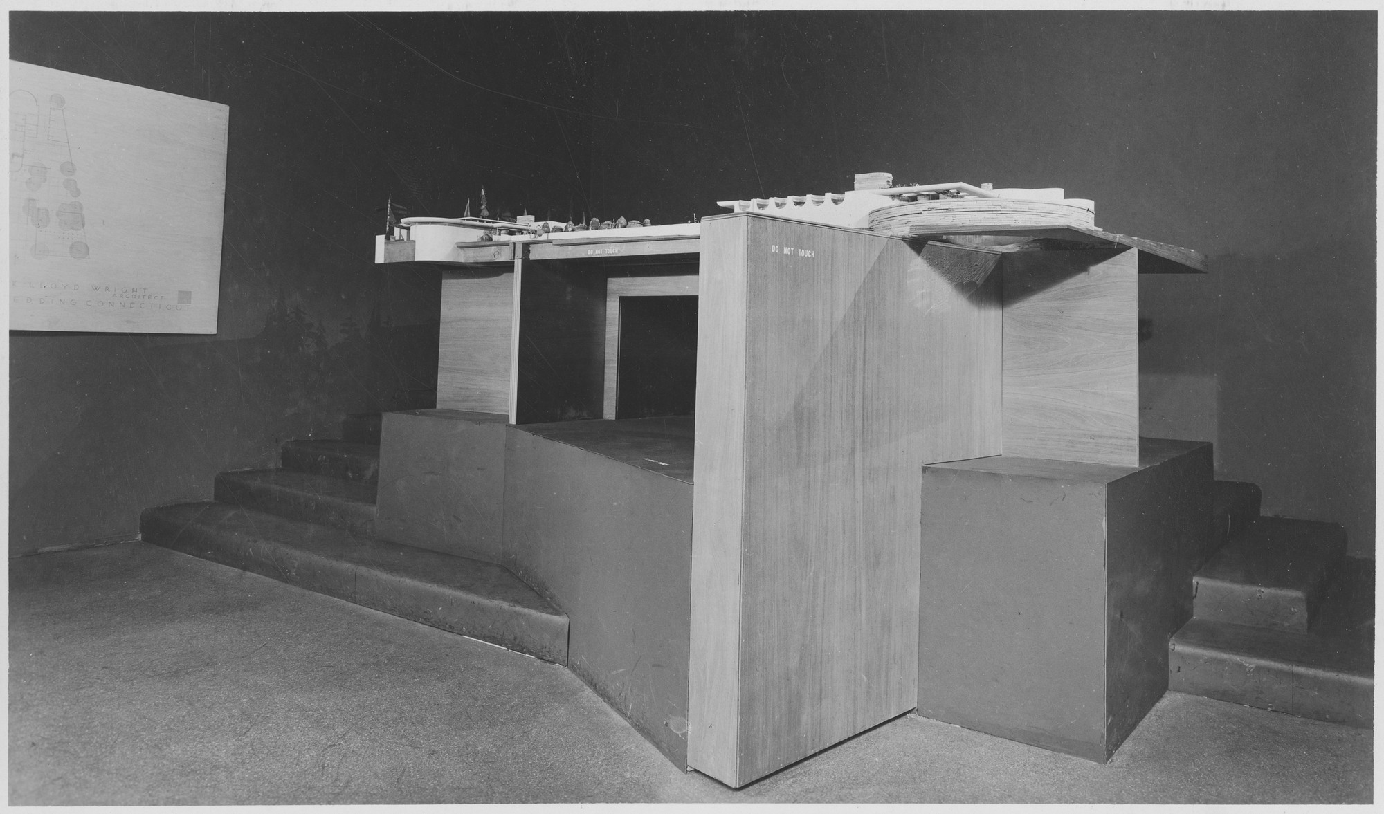 "Installation view of the exhibition, ""A New Country House by Frank Lloyd Wright:  Scale Model"" June 18, 1946–September 3, 1946. Photographic Archive. The Museum of Modern Art Archives, New York. IN321.1. Photograph by Soichi Sunami."