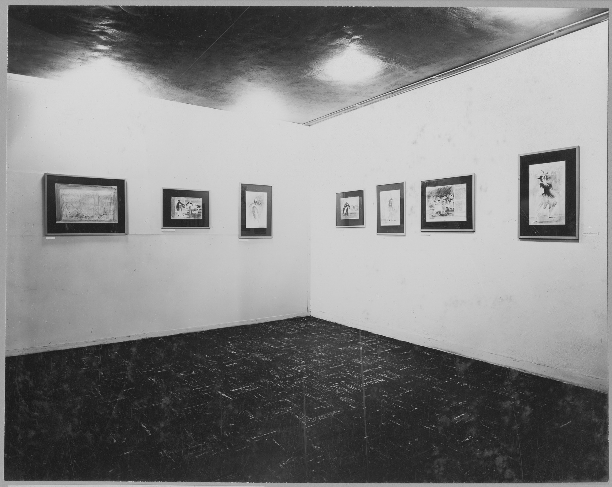 "Installation view of the exhibition, ""Ballet Drawings by Franklin C. Watkins for 'Transcendence'; Model by Eugene Berman for 'The Island God.'"" June 18, 1946–August 25, 1946. Photographic Archive. The Museum of Modern Art Archives, New York. IN323.1. Photograph by Soichi Sunami."