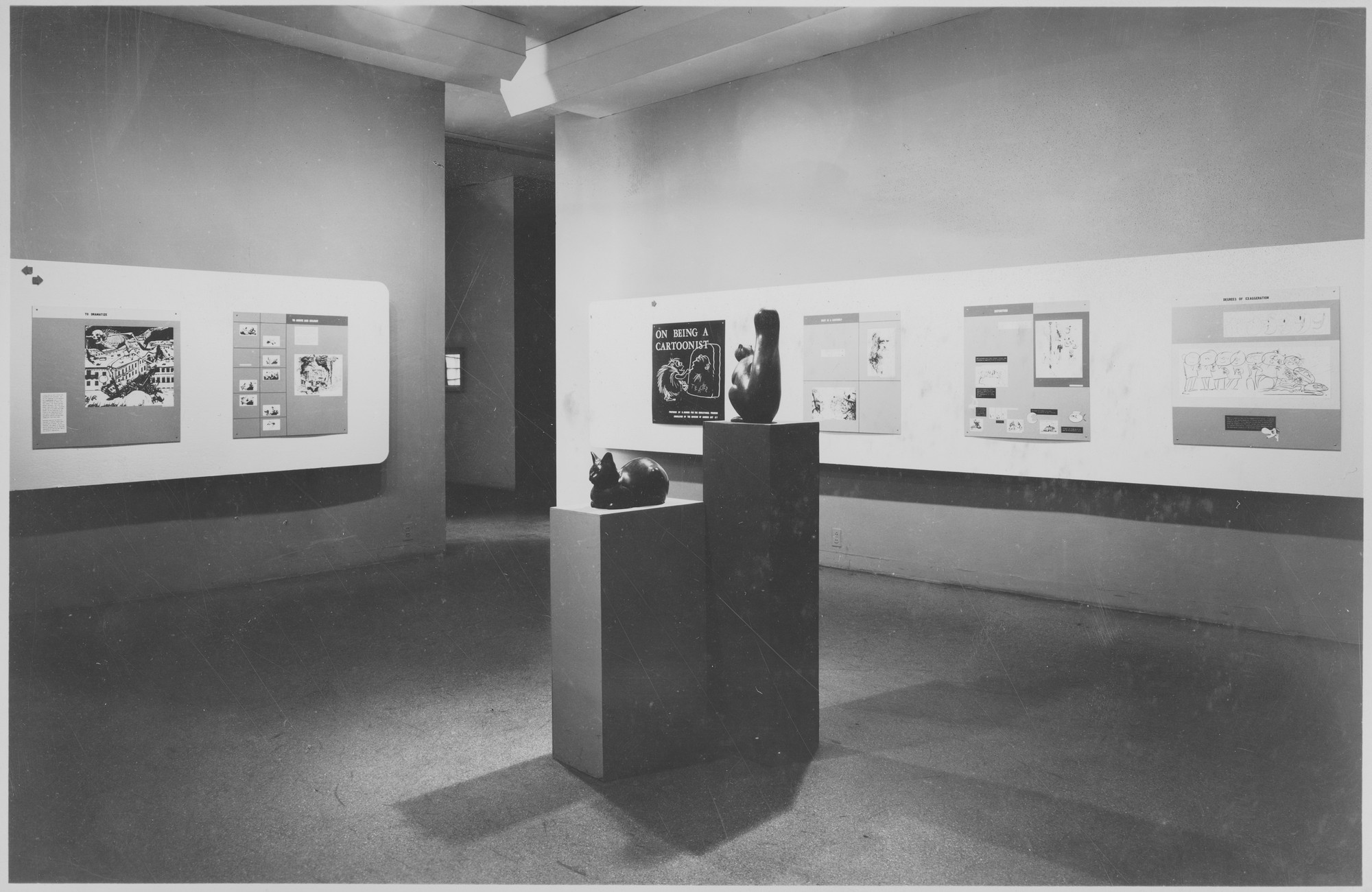 "Installation view of the exhibition, ""On Being a Cartoonist."" October 15, 1946–November 24, 1946. Photographic Archive. The Museum of Modern Art Archives, New York. IN333.1. Photograph by Soichi Sunami."