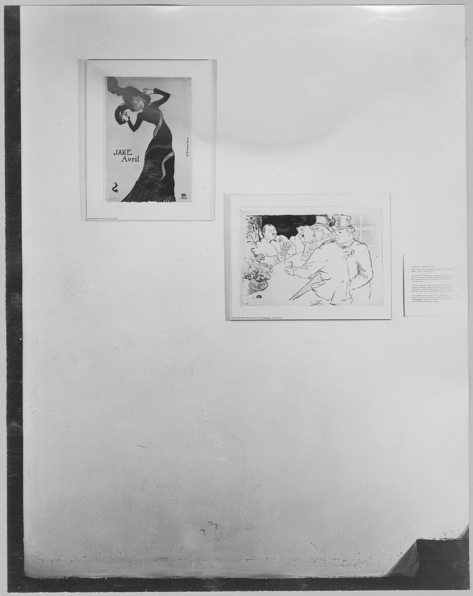 "Installation view of the exhibition, ""Recent Acquisitions:  61 Lithographs by Toulouse-Lautrec and 31 Aquatints by Picasso for Buffon's 'Histoire Naturelle.'"" November 19, 1946–January 14, 1947. Photographic Archive. The Museum of Modern Art Archives, New York. IN334.1. Photograph by Soichi Sunami."