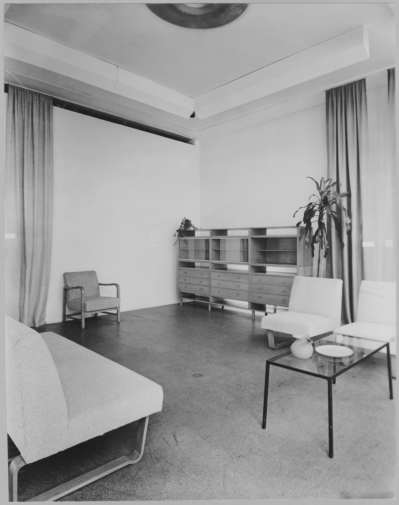 "Installation view of the exhibition, ""Design Trends in Unit Furniture, Fabric and Tableware."" September 6, 1946–November 17, 1946. Photographic Archive. The Museum of Modern Art Archives, New York. IN328.1. Photograph by Soichi Sunami."