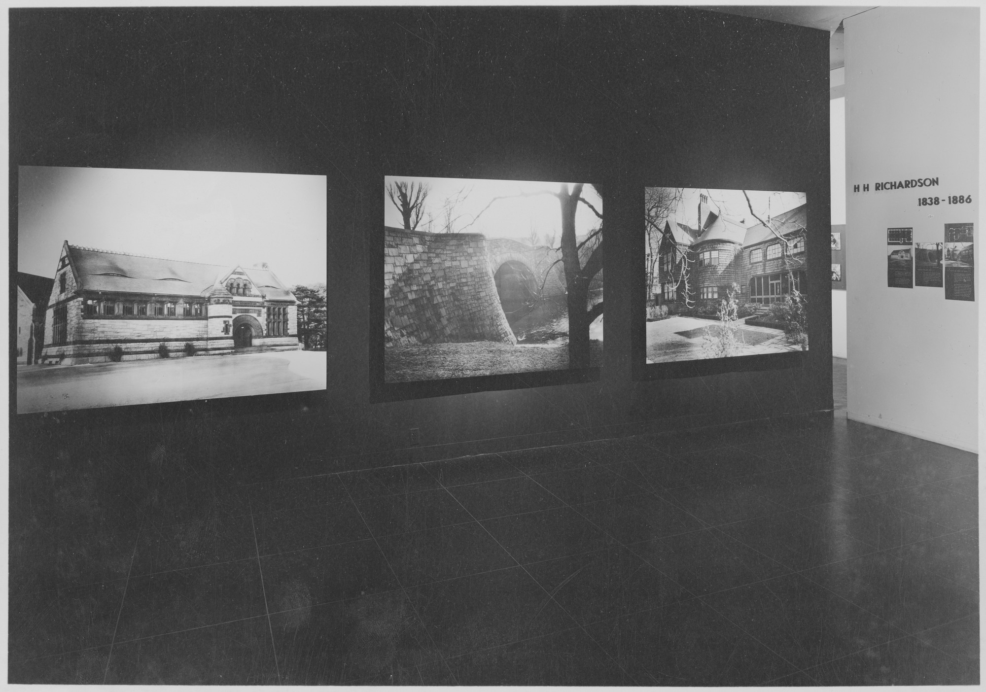 "Installation view of the exhibition,""Henry Hobson Richardson:  1838-1886 Architectural Masterpieces."" February 4, 1947–May 26, 1947. Photographic Archive. The Museum of Modern Art Archives, New York. IN344.1. Photograph by Soichi Sunami."