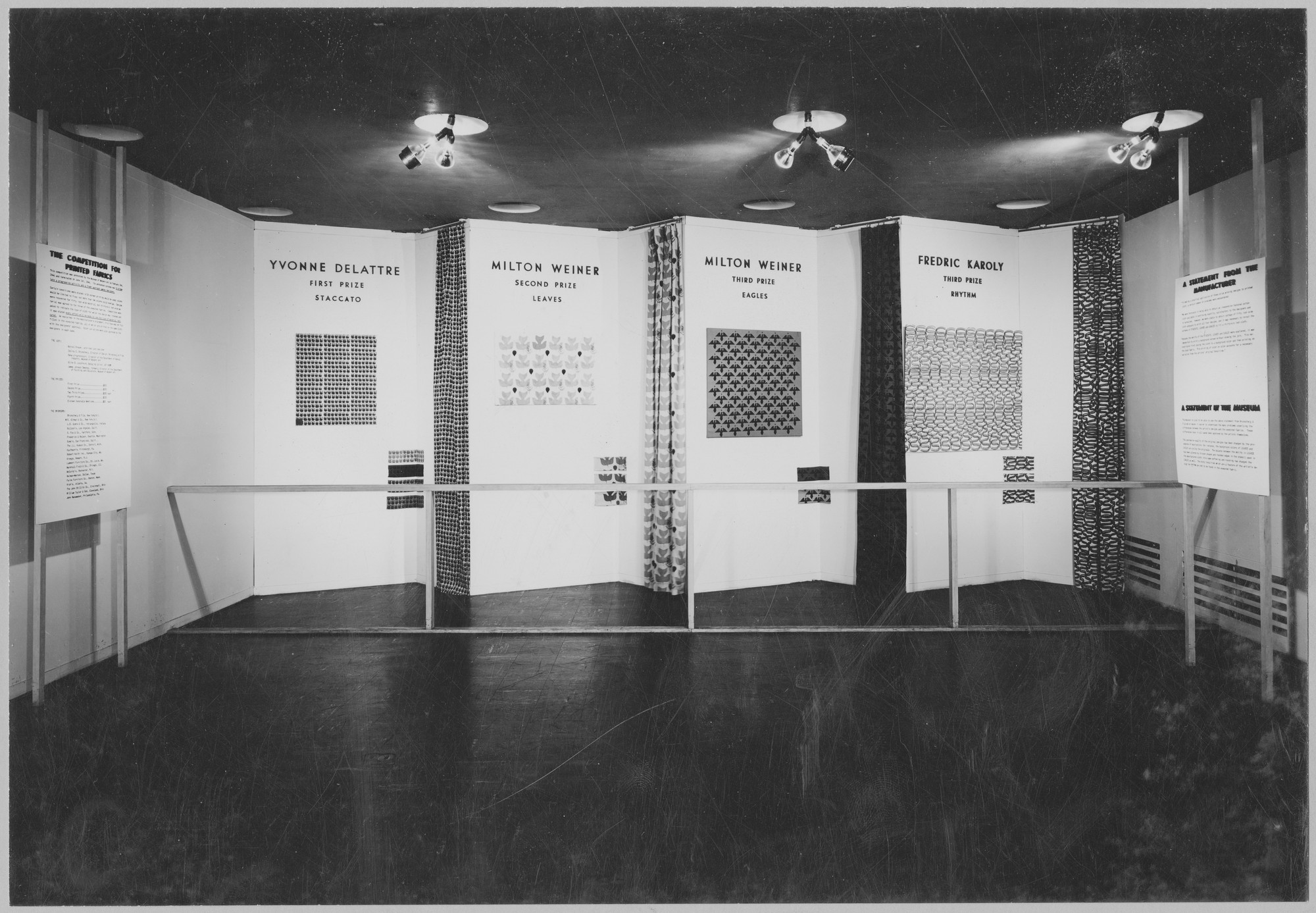 "Installation view of the exhibition, ""Printed Textiles for the Home."" March 11, 1947–June 15, 1947. Photographic Archive. The Museum of Modern Art Archives, New York. IN345.1. Photograph by Soichi Sunami."