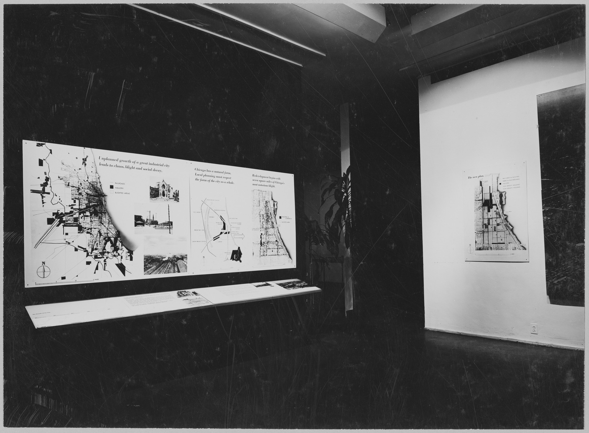"Installation view of the exhibition, ""Two Cities:  Planning in North and South America"" June 24, 1947–September 21, 1947. Photographic Archive. The Museum of Modern Art Archives, New York. IN352.1. Photograph by Soichi Sunami."