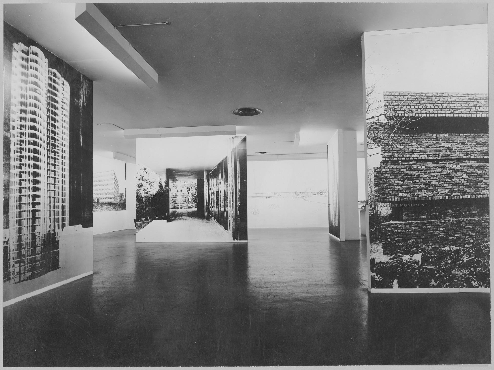 "Installation view of the exhibition, ""Mies van der Rohe."" September 16, 1947–January 25, 1948. Photographic Archive. The Museum of Modern Art Archives, New York. IN356.1. Photograph by Soichi Sunami."