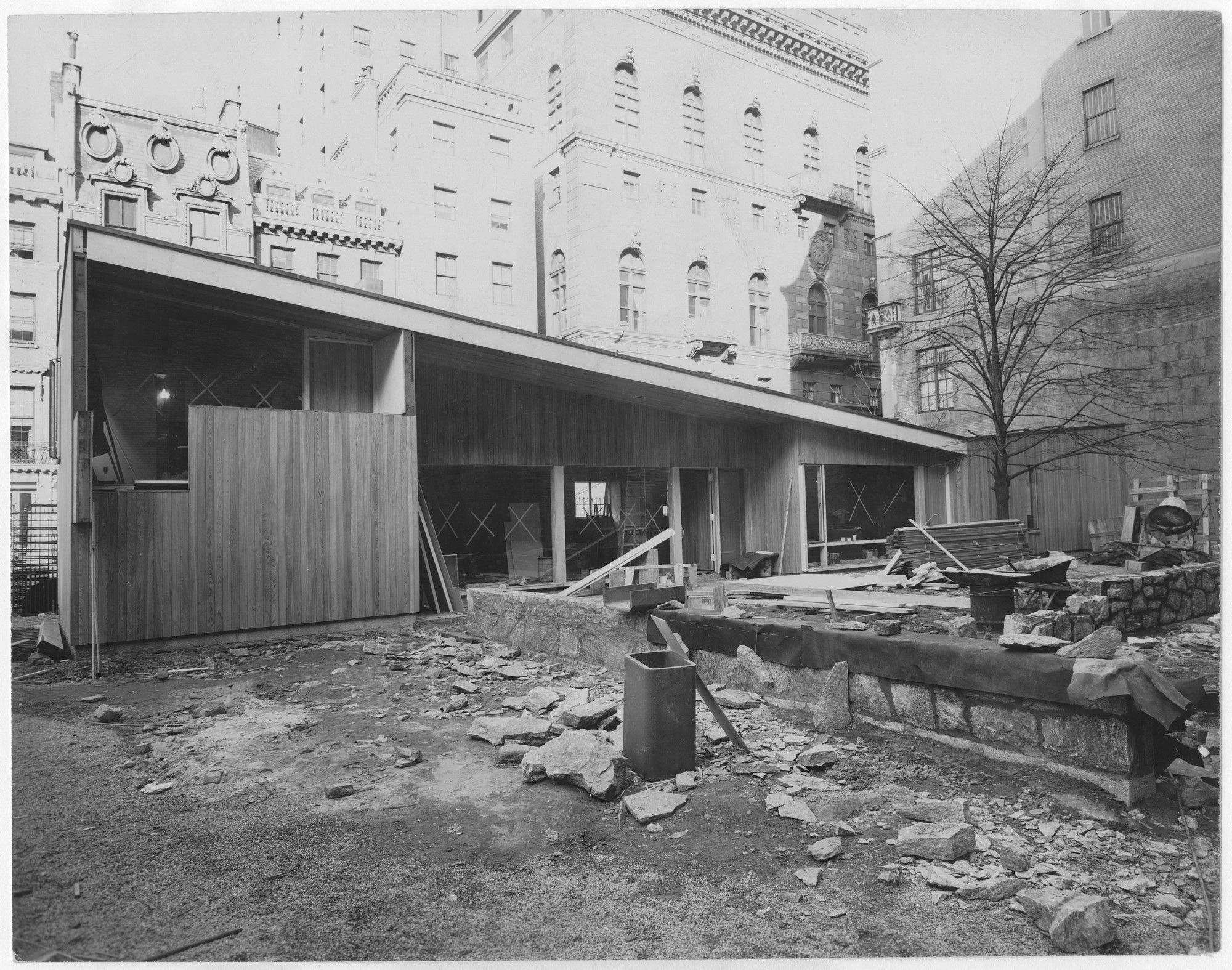 "Under construction, installing the exhibition, ""The House in the Museum Garden."" April 12, 1949–October 30, 1949. Photographic Archive. The Museum of Modern Art Archives, New York. IN405.1. Photograph by Soichi Sunami."