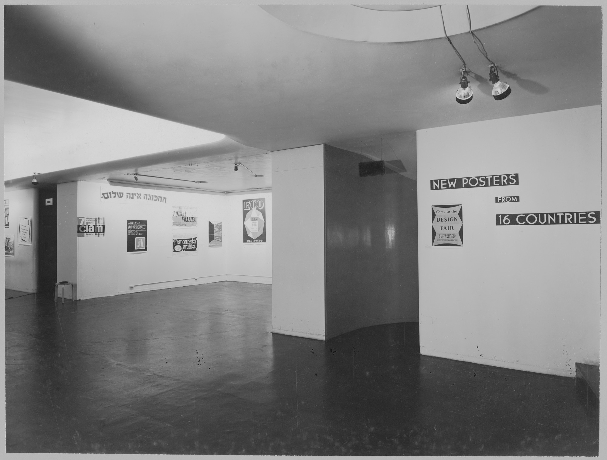 "Installation view of the exhibition, ""New Posters from 16 Countries."" October 11, 1949–November 20, 1949. Photographic Archive. The Museum of Modern Art Archives, New York. IN424.1. Photograph by Soichi Sunami."