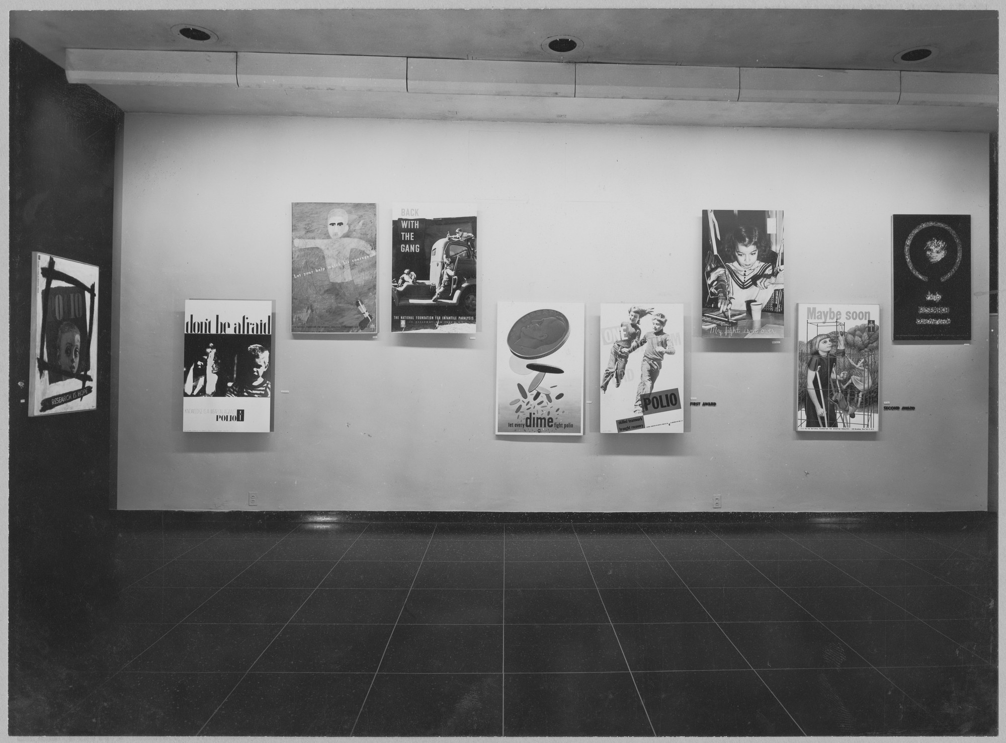 "Installation view of the exhibition, ""Polio Poster Competition."" October 31, 1949–November 20, 1949. Photographic Archive. The Museum of Modern Art Archives, New York. IN427.1. Photograph by Soichi Sunami."
