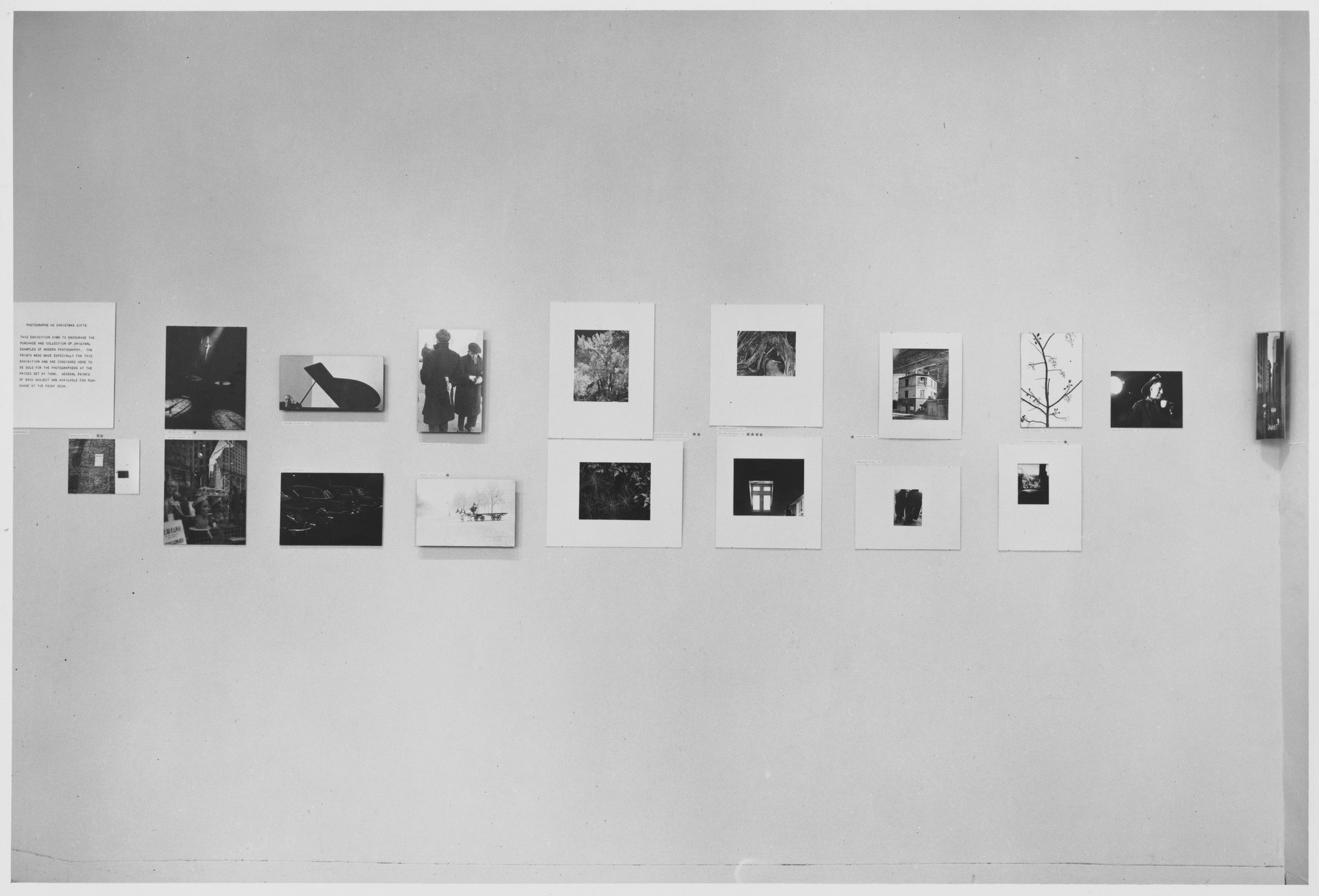 "Installation view of the exhibition, ""Christmas Photographs."" November 29, 1951–January 6, 1952. Photographic Archive. The Museum of Modern Art Archives, New York. IN495.1. Photograph by Oliver Baker."