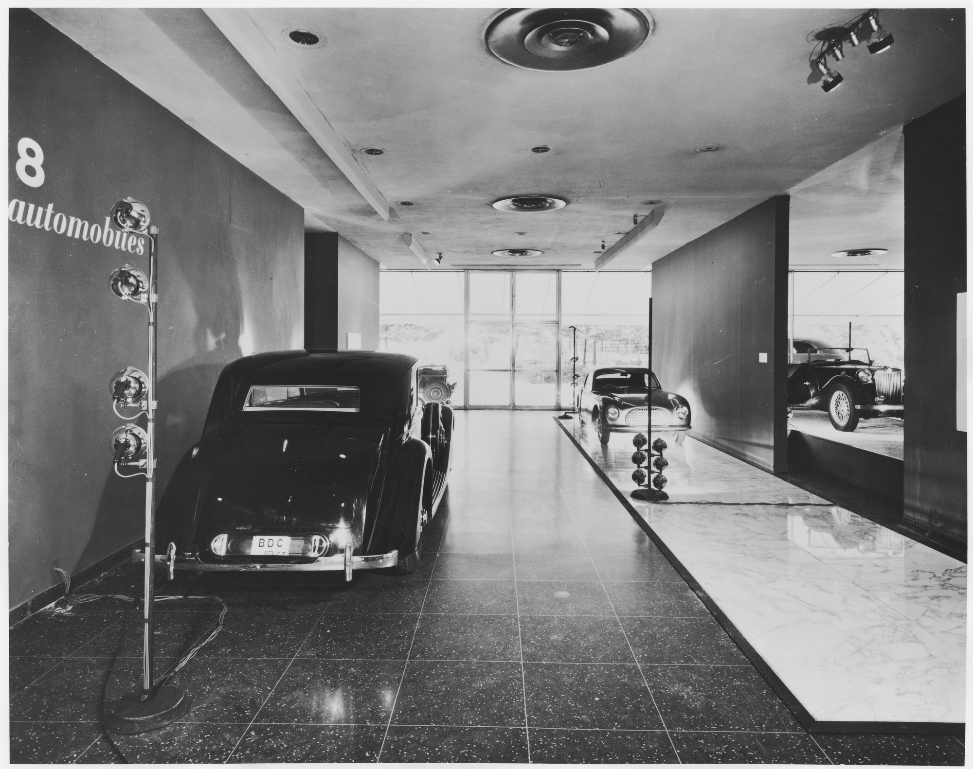 "Installation view of the exhibition, ""Eight Automobiles."" August 28, 1951–November 11, 1951. Photographic Archive. The Museum of Modern Art Archives, New York. IN488.1"