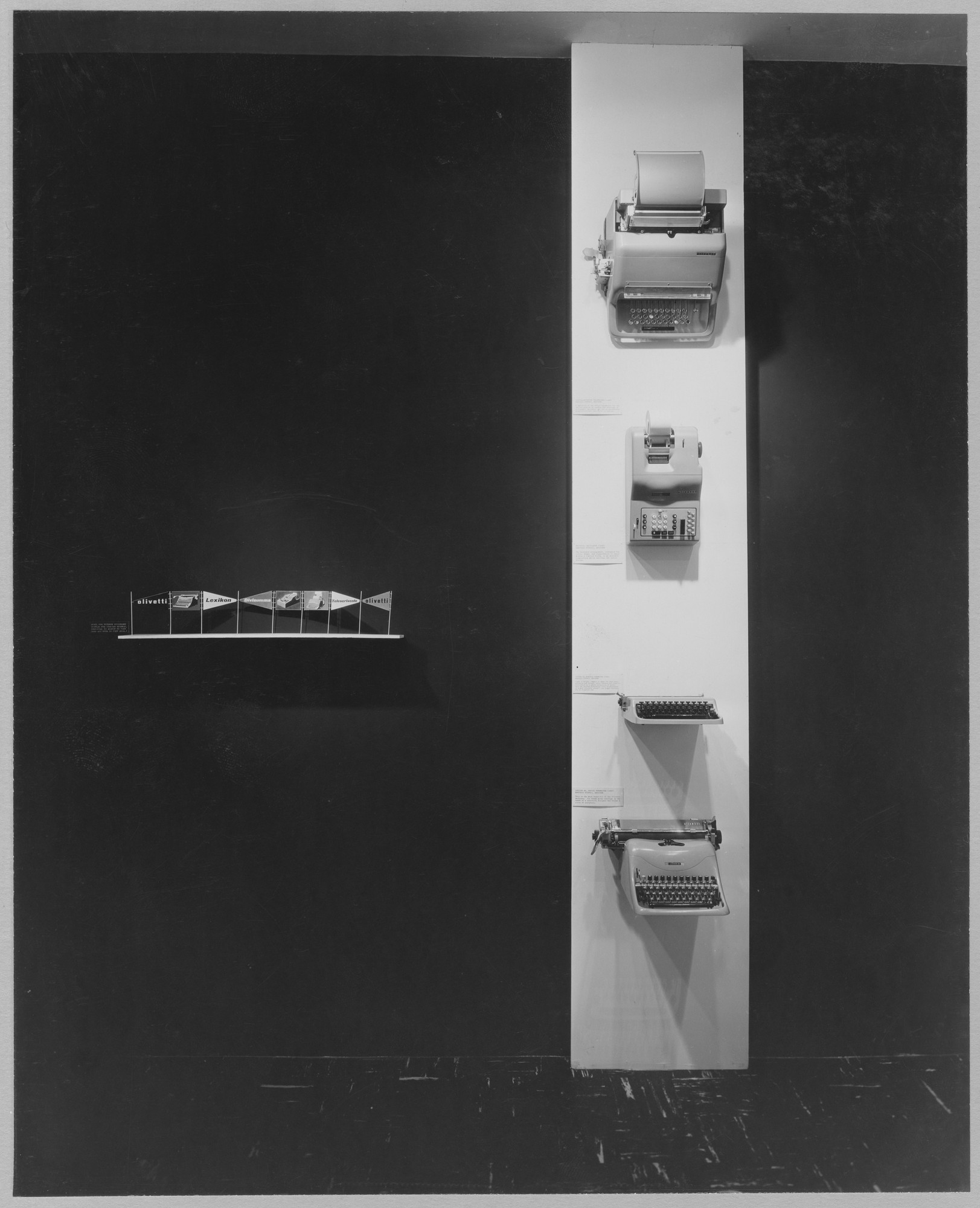 "Installation view of the exhibition, ""Olivetti: Design in Industry."" October 21, 1952–November 30, 1952. Photographic Archive. The Museum of Modern Art Archives, New York. IN523.1. Photograph by Soichi Sunami."